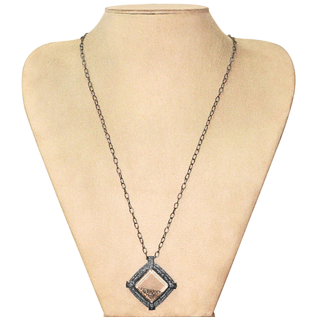 Natural diamond 925 sterling silver crystal shaker pendant with chain