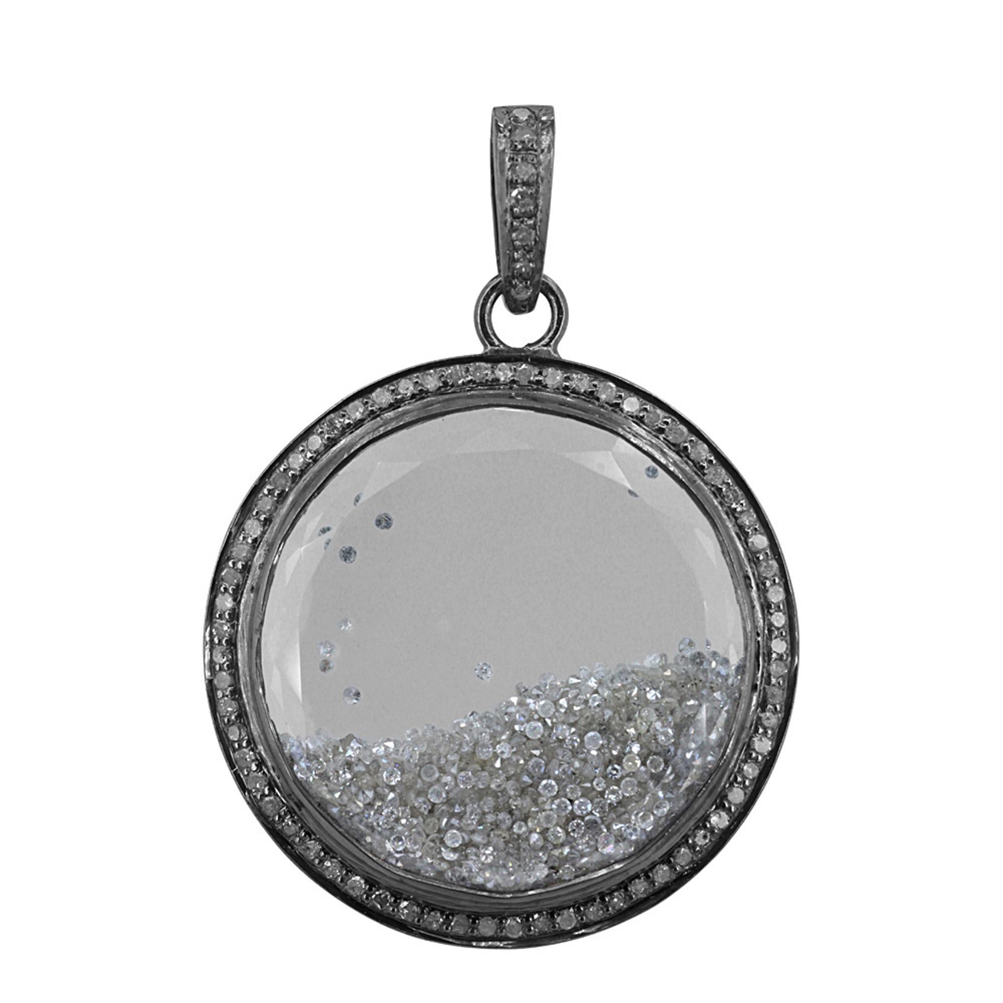 Loose diamond925 sterling silver crystal shaker pendant