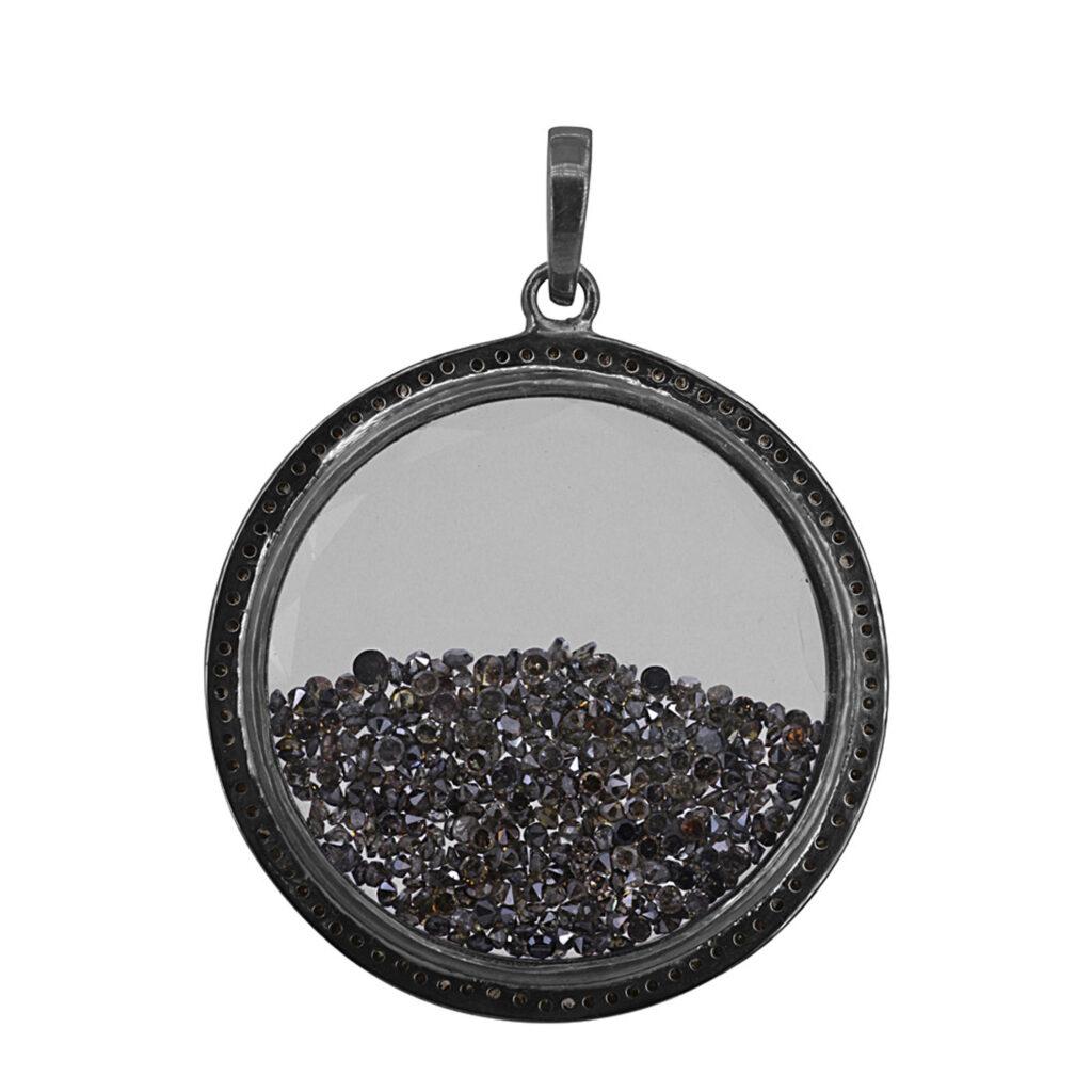 Loose diamond 925 sterling silver crystal shaker pendant