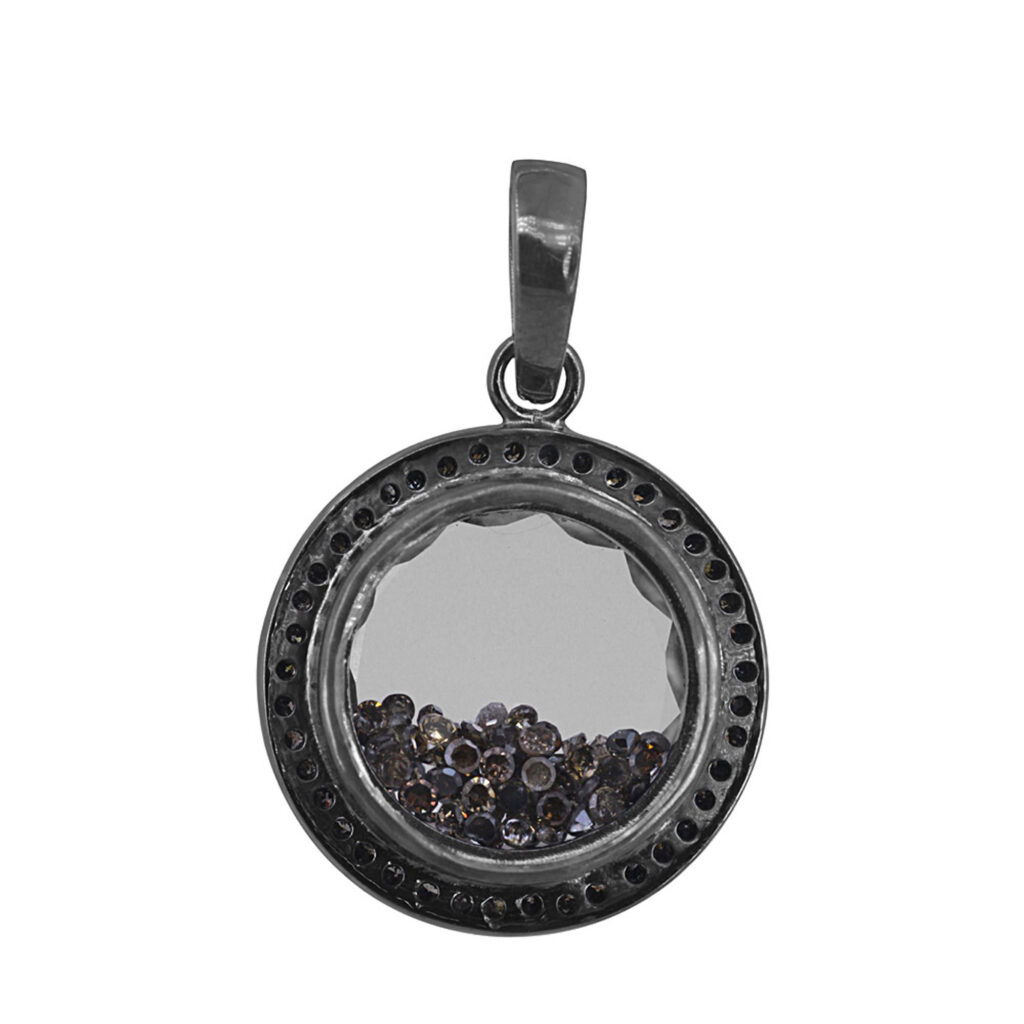 925 Silver natural loose diamond crystal shaker pendant