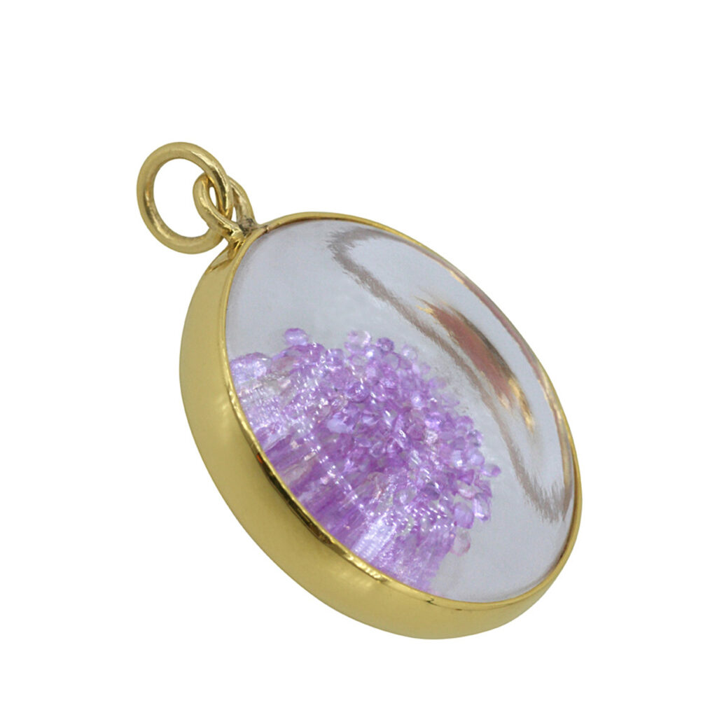 Pink sapphire 14k solid gold crystal shaker pendant