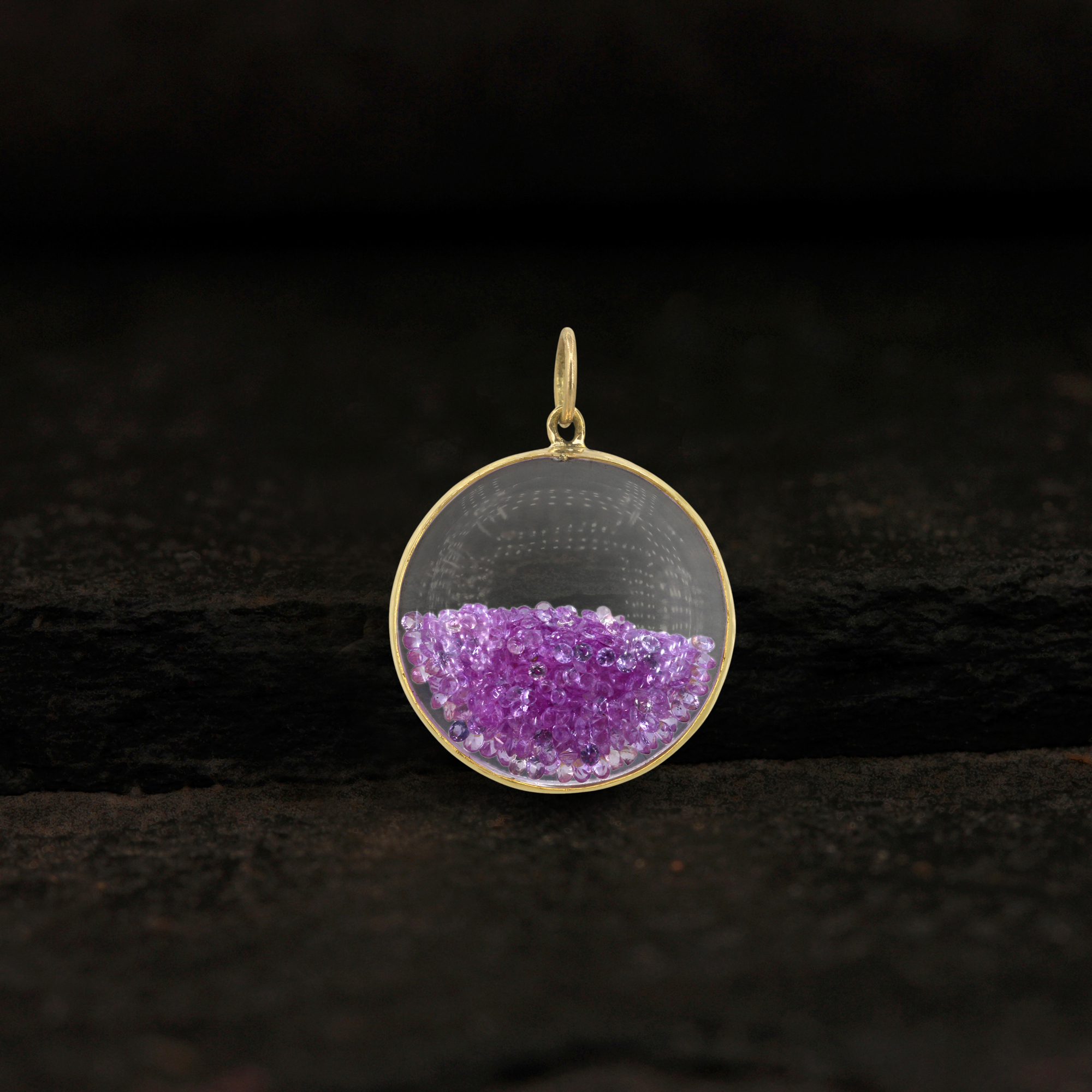 14k solid gold pink sapphire crystal shaker pendant