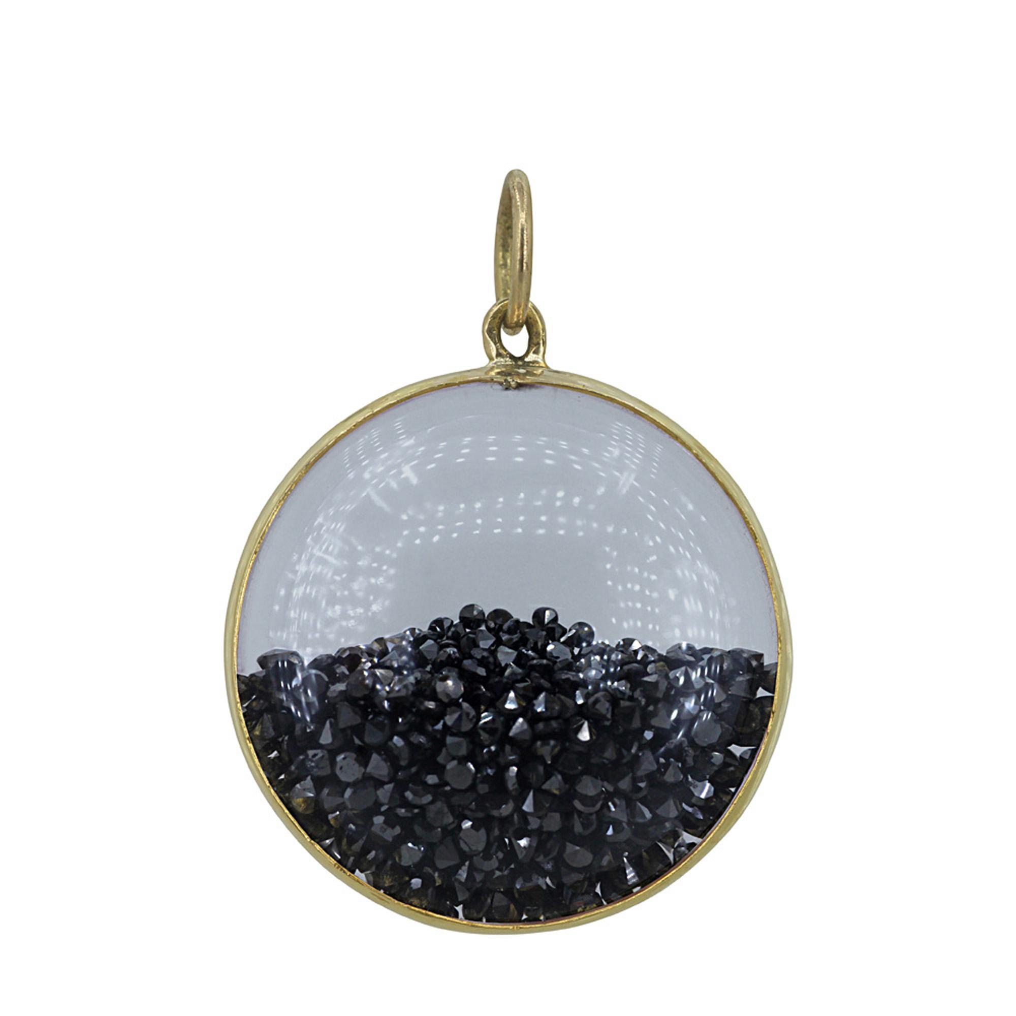 14k Solid gold 8.00ct genuine diamond crystal pendant