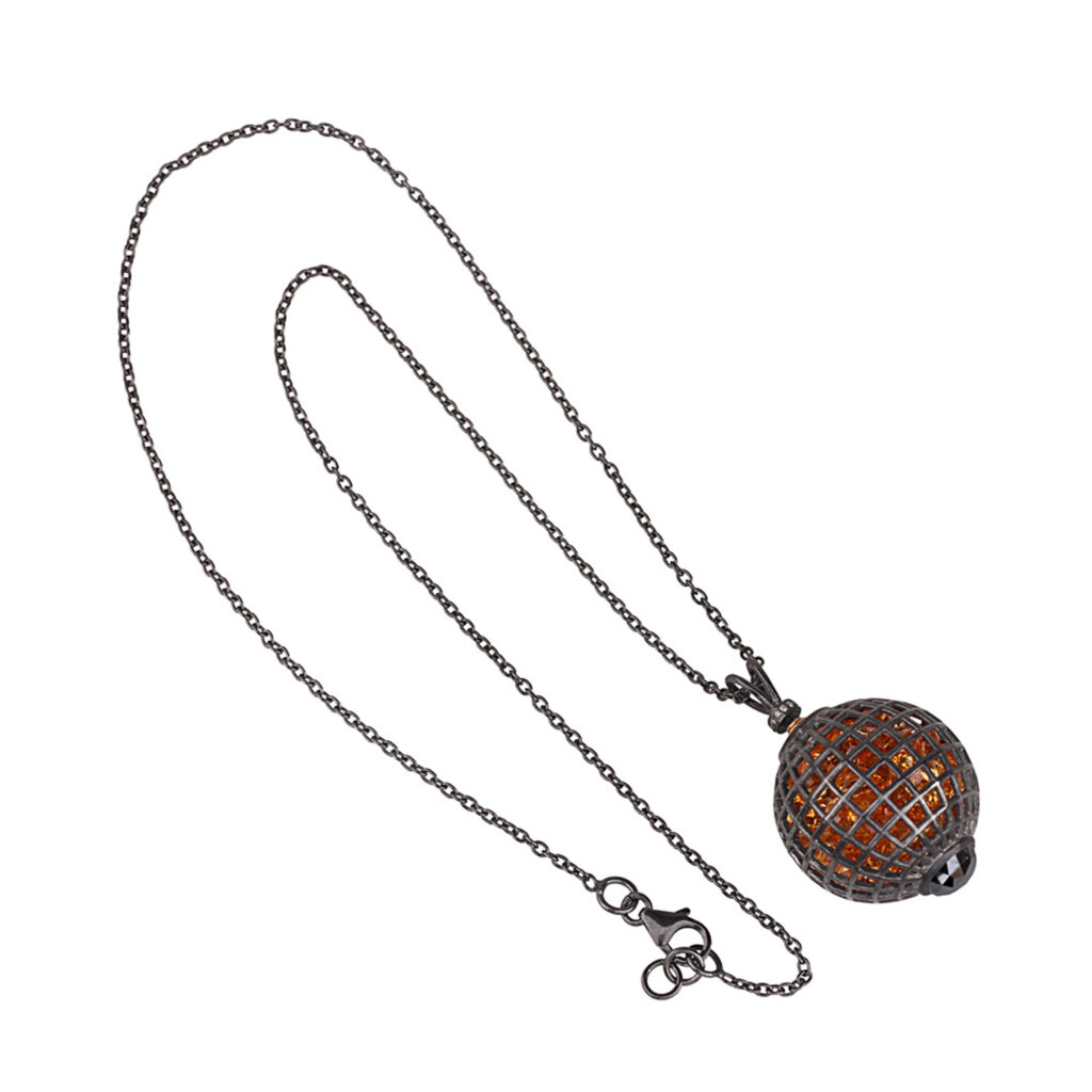Diamond 14k gold silver cage citrine shaker pendant with chain