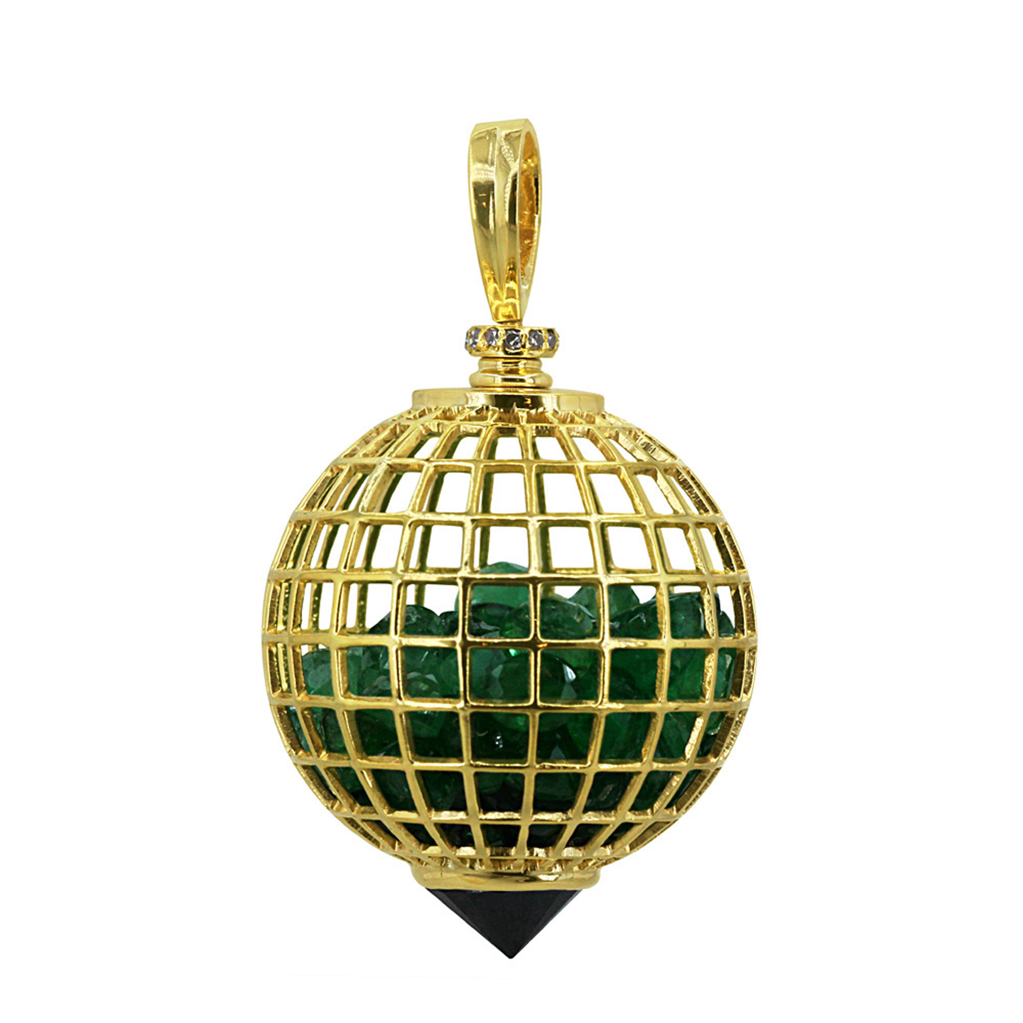 Real diamond 18k solid gold emerald cage shaker pendant with spinel