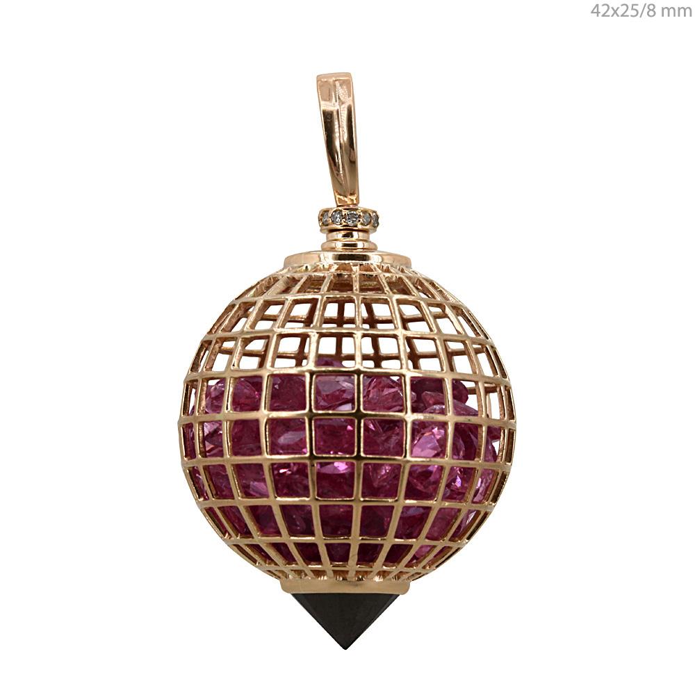 Black Spinel 18k gold diamond tourmaline cage shaker pendant
