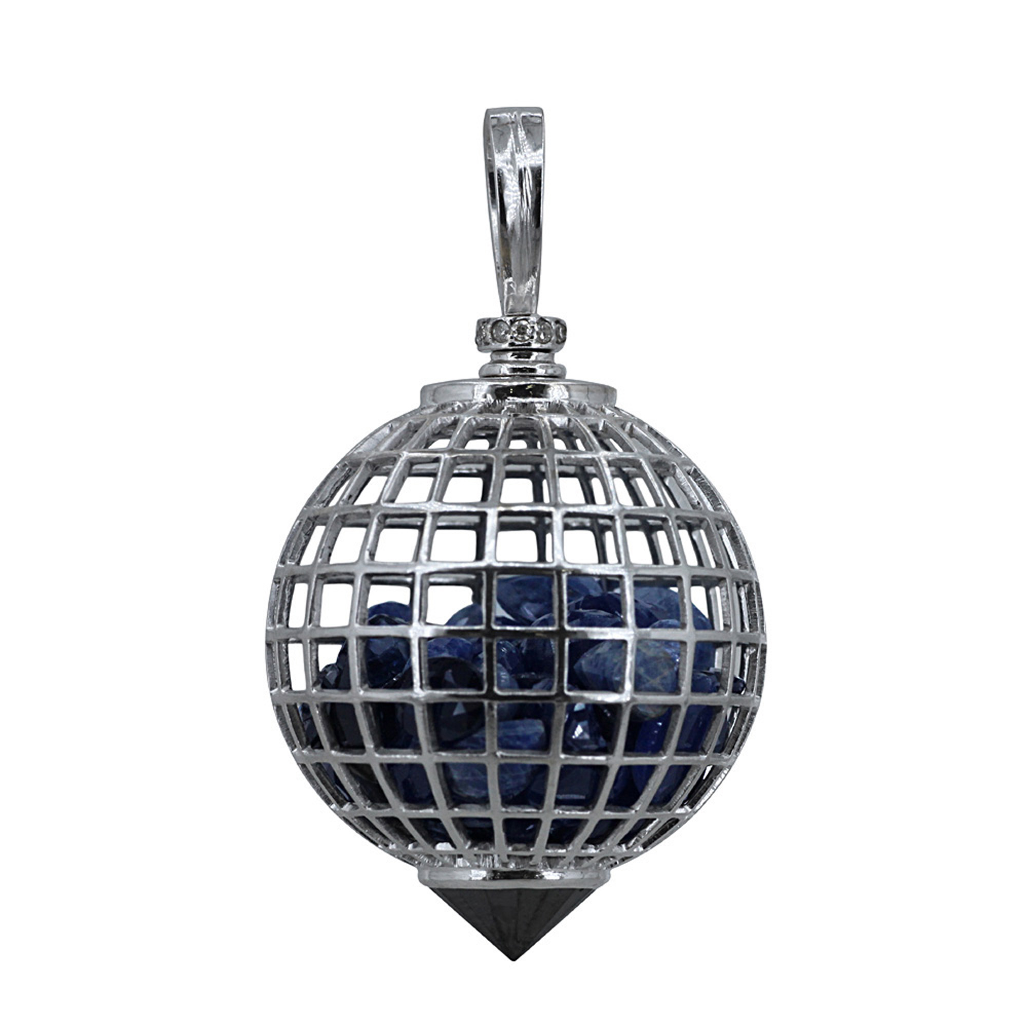 18k gold diamond sapphire cage shaker pendant with black spinel