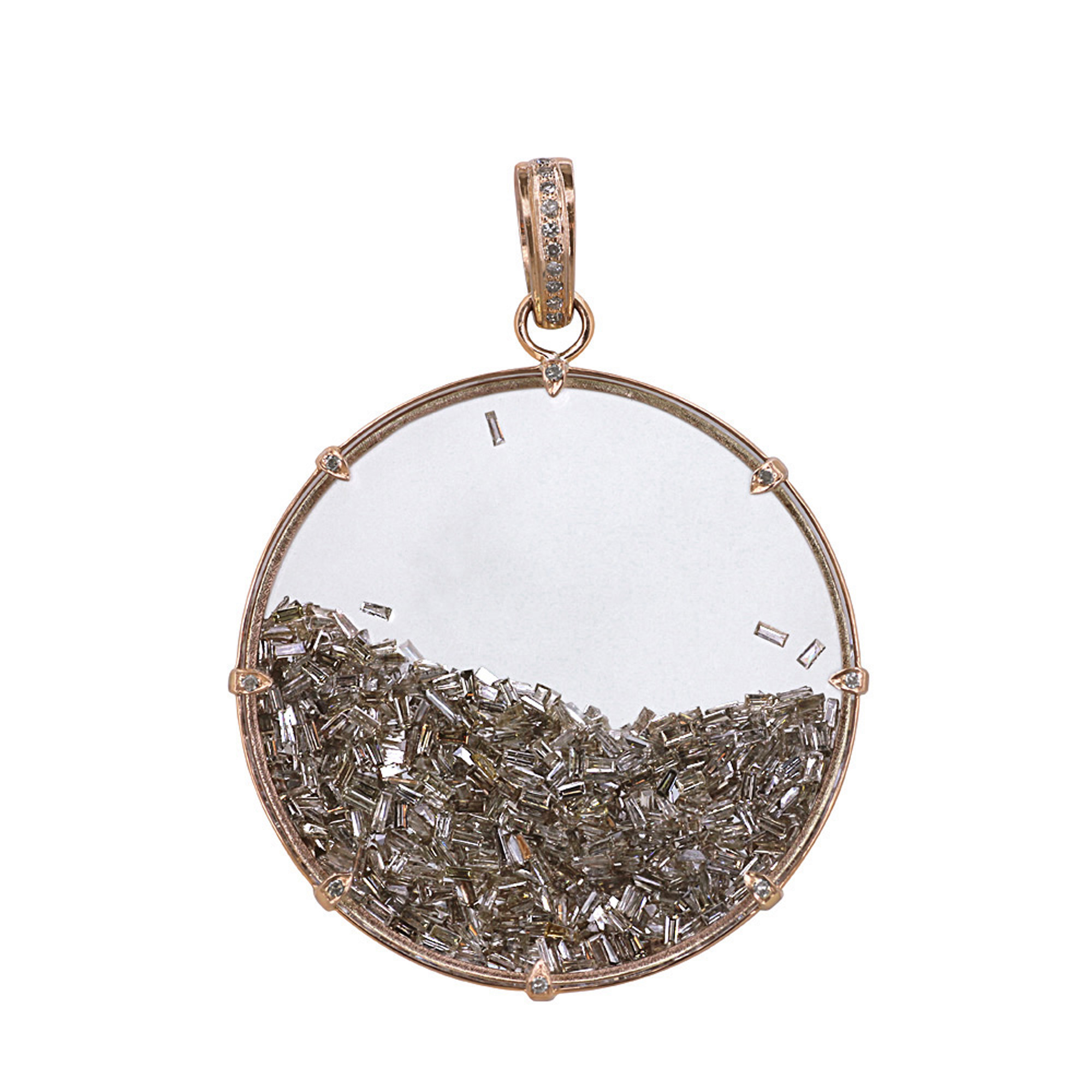 18k solid gold diamond crystal shaker pendant
