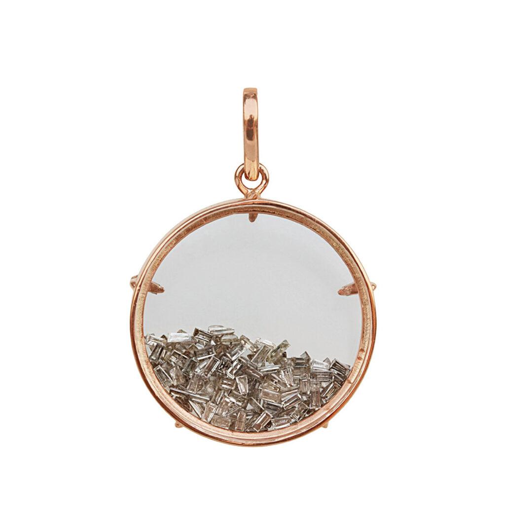 Natural diamond 18k solid gold crystal shaker pendant