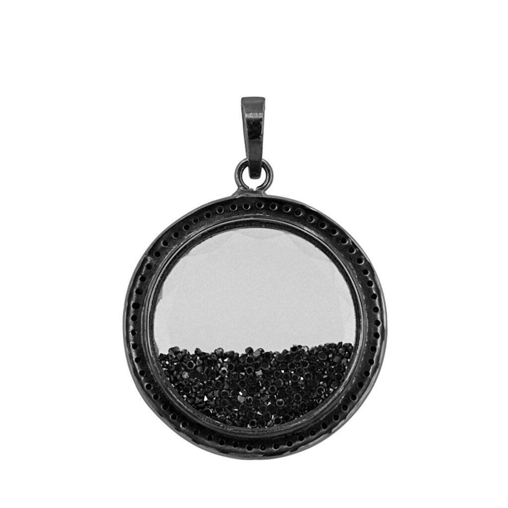 Natural loose diamond 925 sterling silver crystal shaker pendant