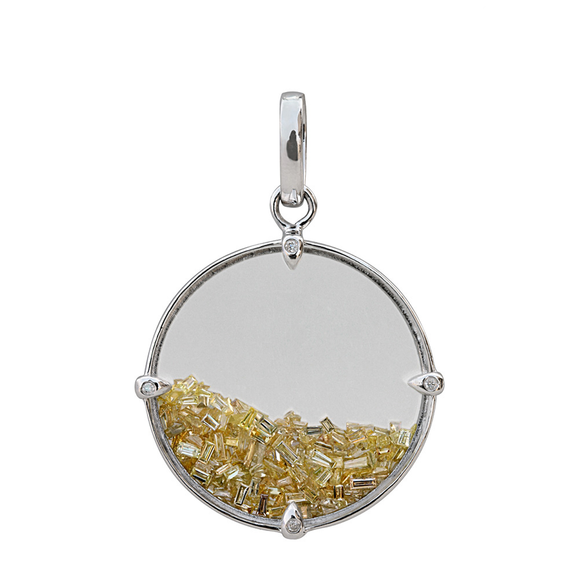 Crystal shaker pendant 3.05ct real loose diamond & 18k solid white gold Jewelry