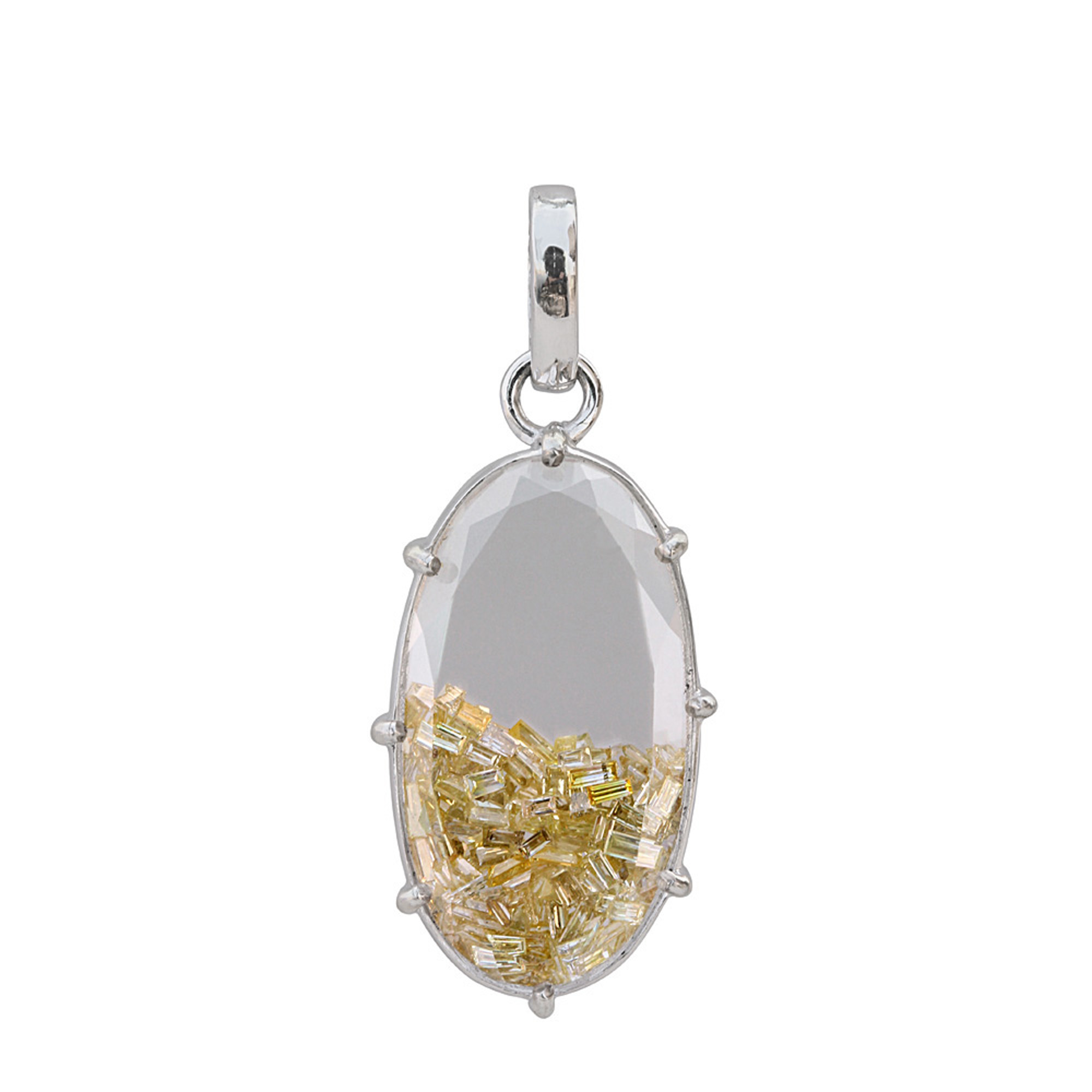 Real loose diamond18k solid white gold crystal shaker pendant