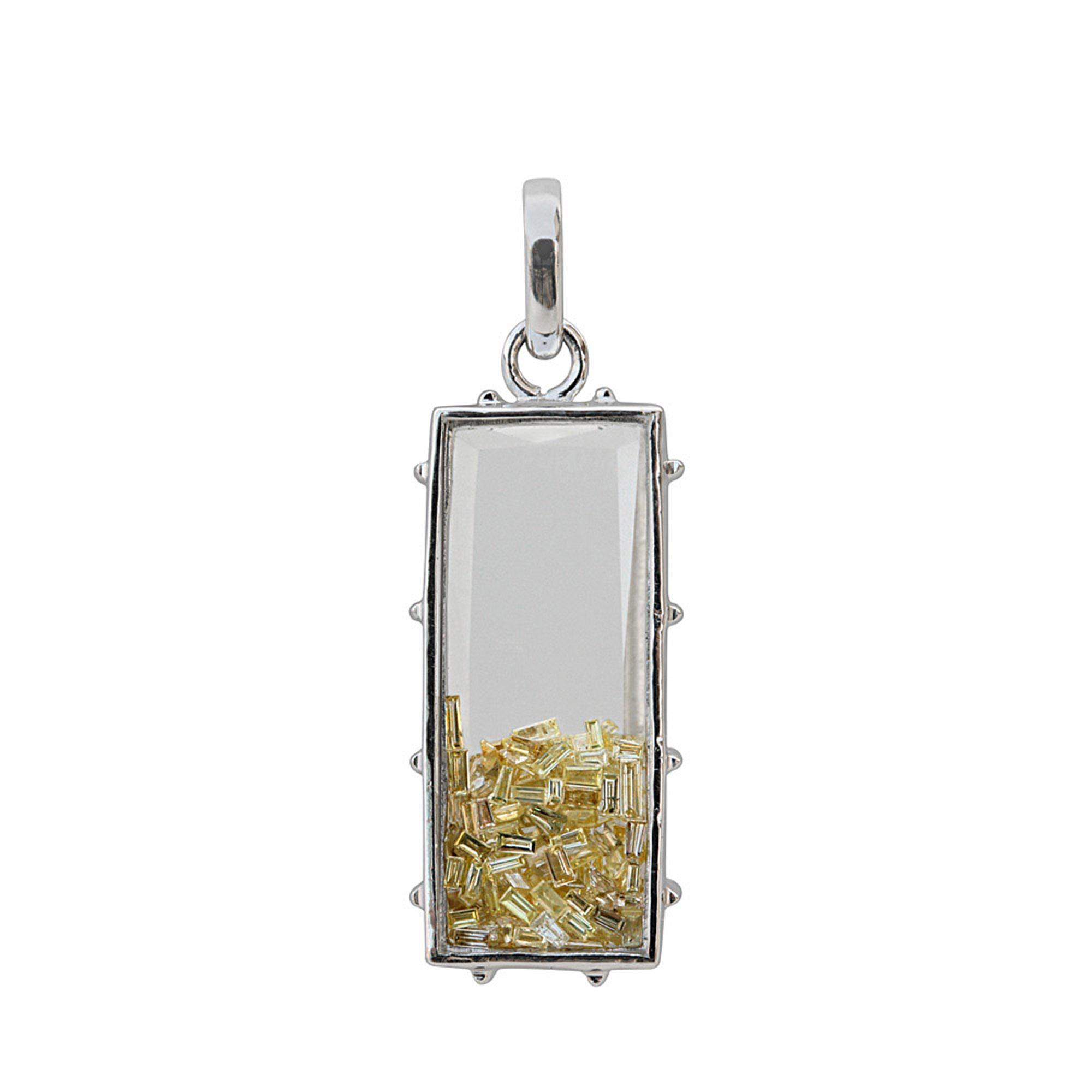 Real diamond 18k solid gold crystal shaker pendant