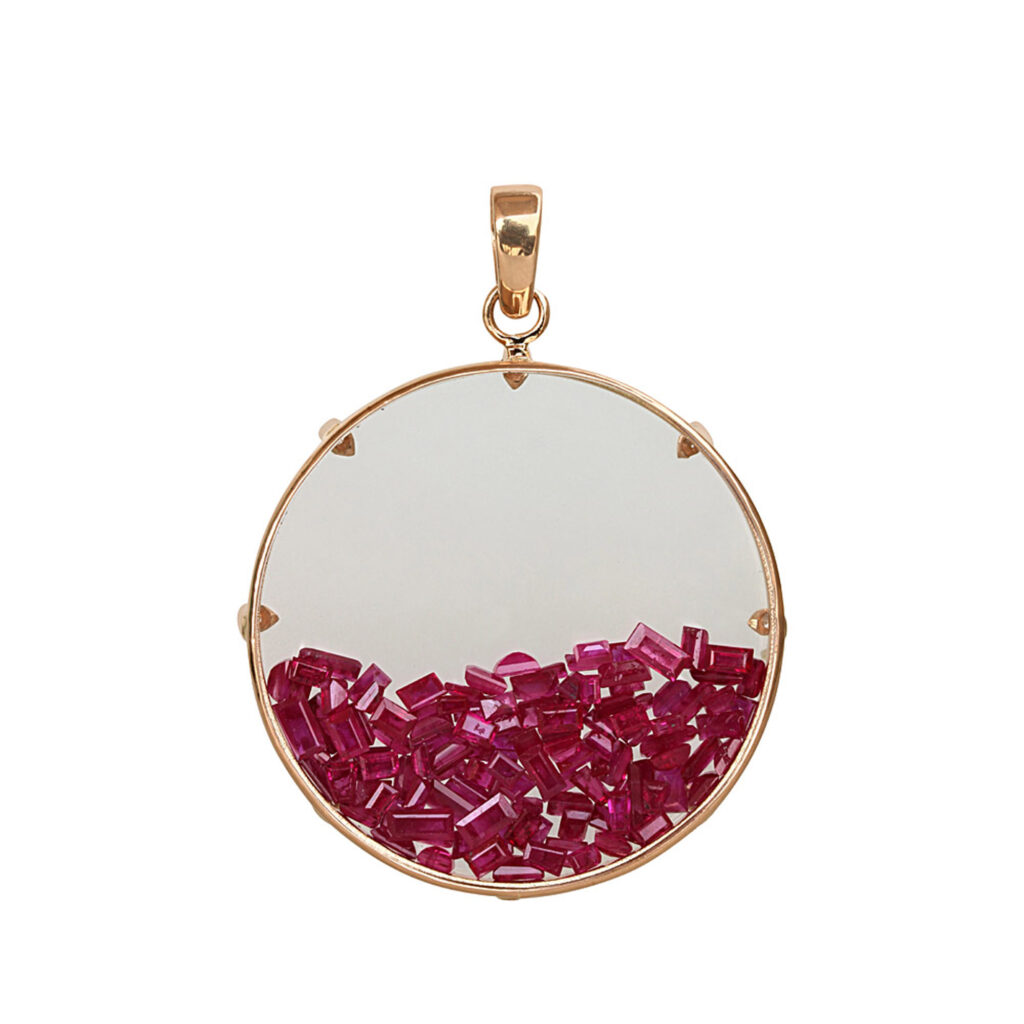 Solid 18k gold diamond crystal shaker pendant with real ruby