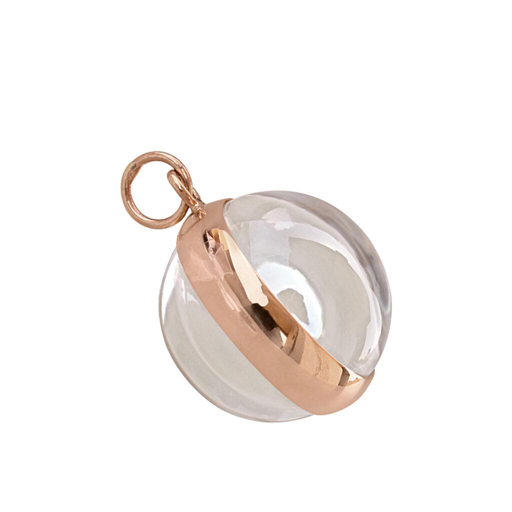 Baguette diamond 18k gold crystal shaker pendant