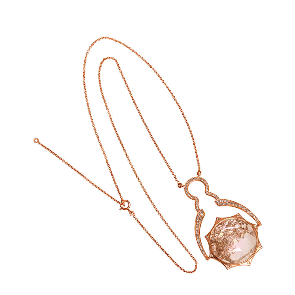 Diamond 18k solid rose gold crystal shaker pendant with chain