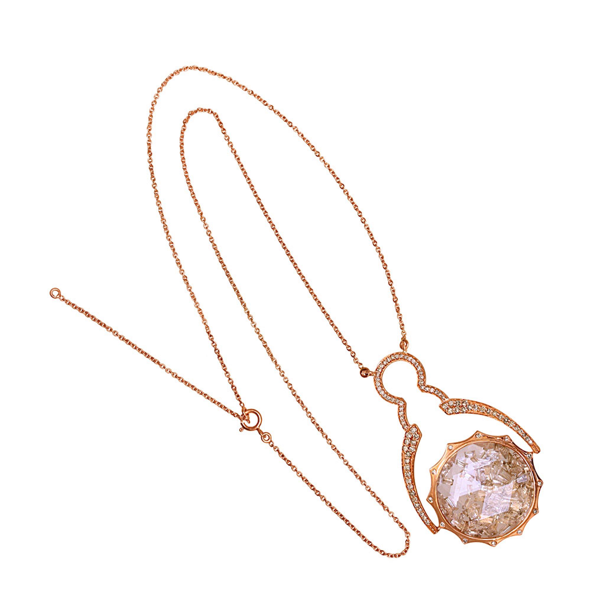18k rose gold baguette diamond crystal shaker pendant with chain