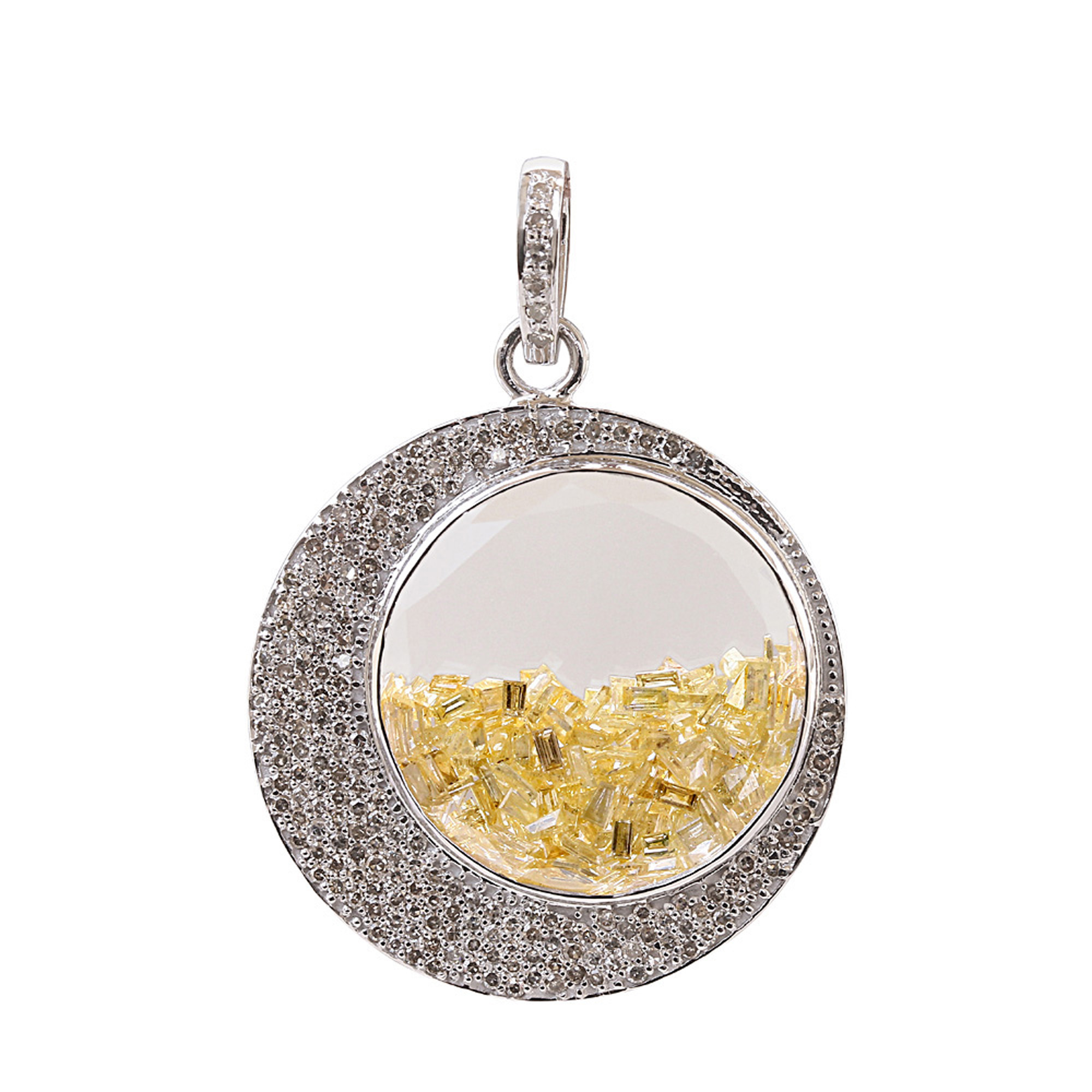 18k Solid white gold loose diamond & crystal moon shaker pendant