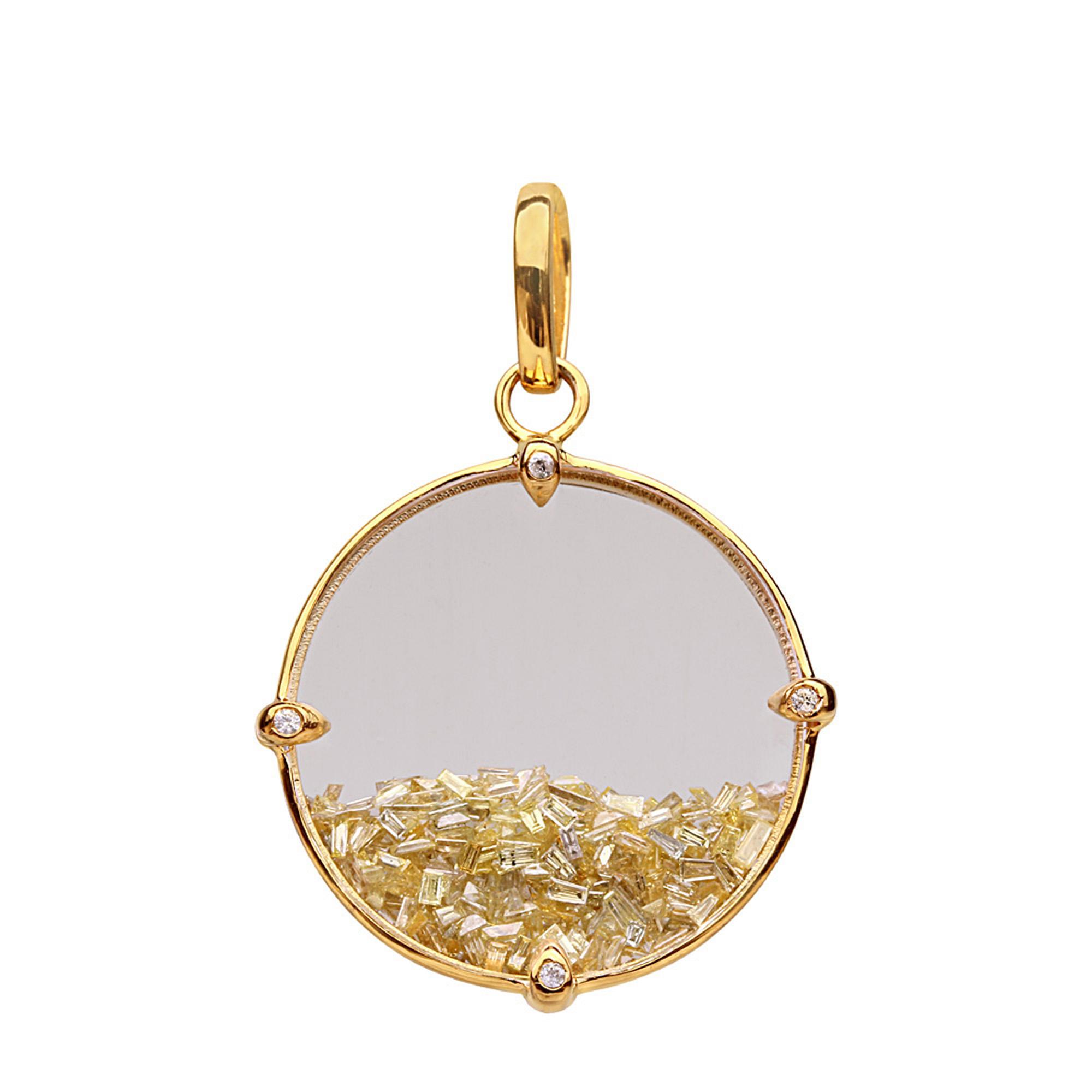 Loose diamond 18k solid yellow gold crystal shaker pendant