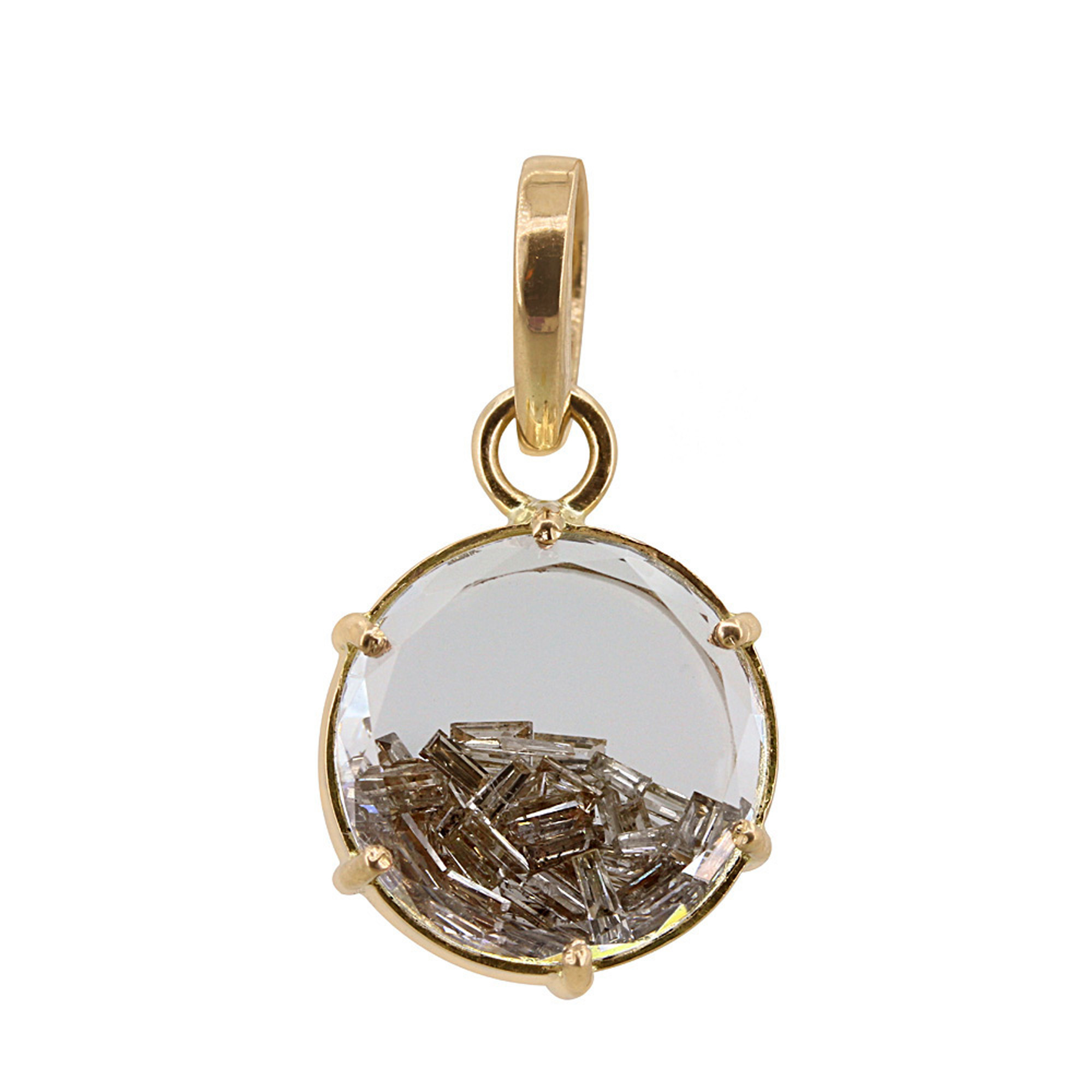 Natural crystal 14k solid gold shaker pendant