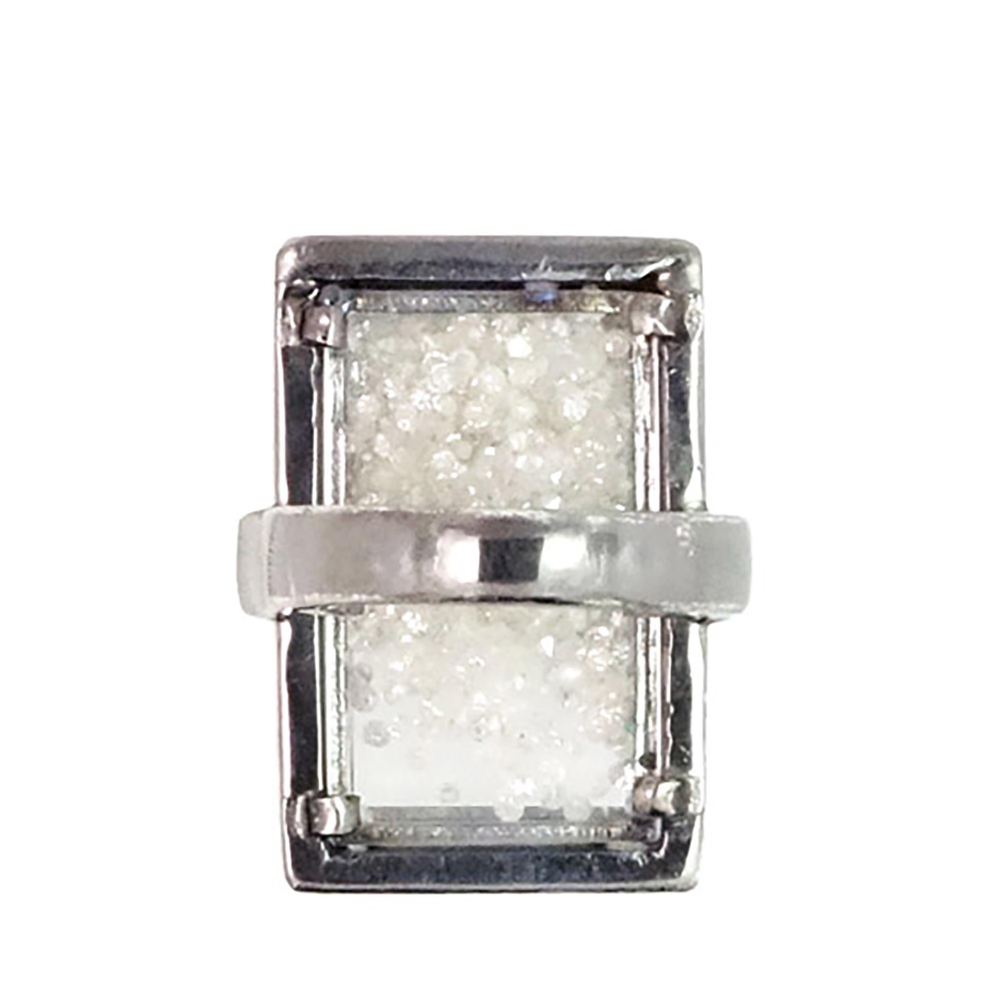 Natural diamond 925 sterling silver crystal shaker ring