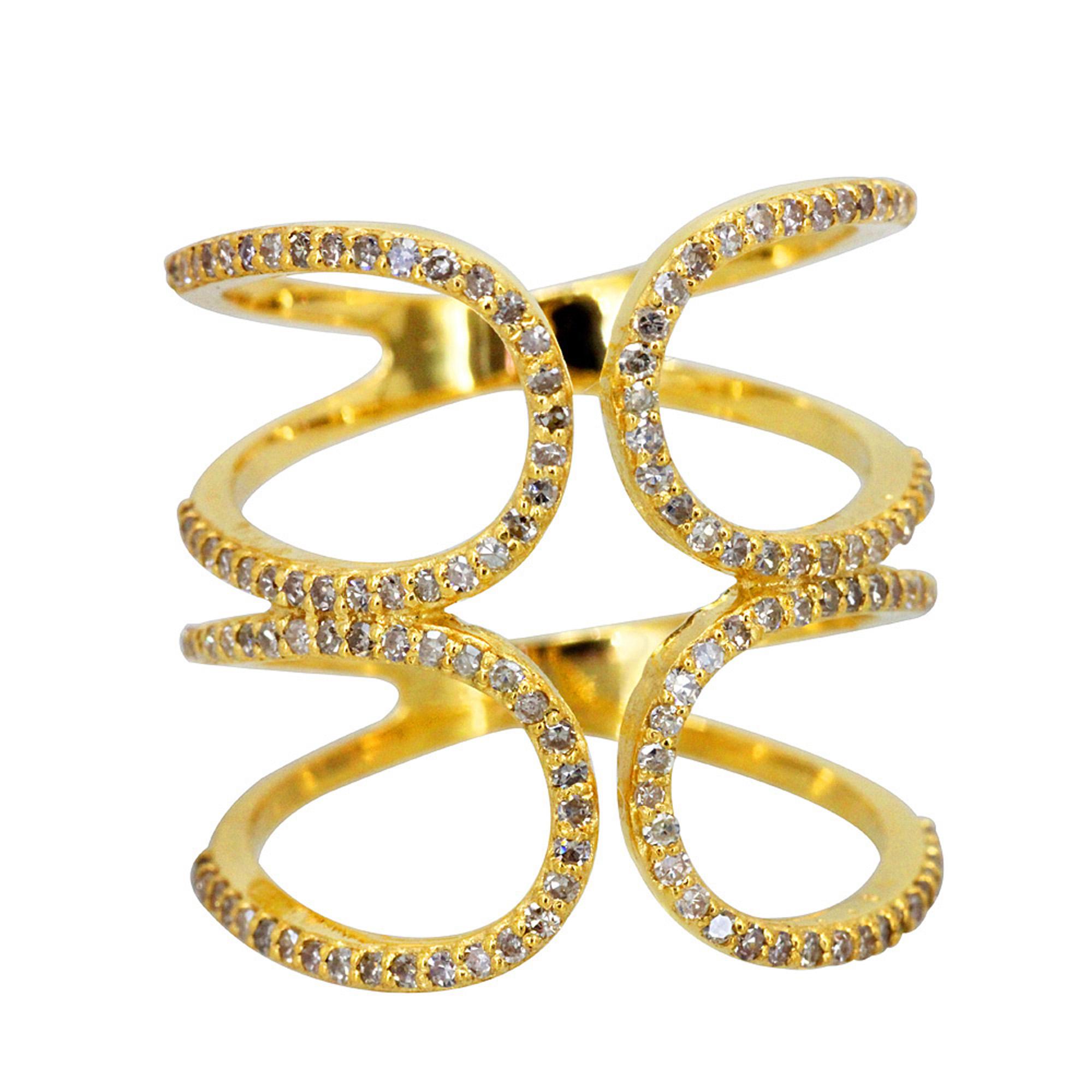 Natural diamond designer ring, 18k solid gold fine jewelry