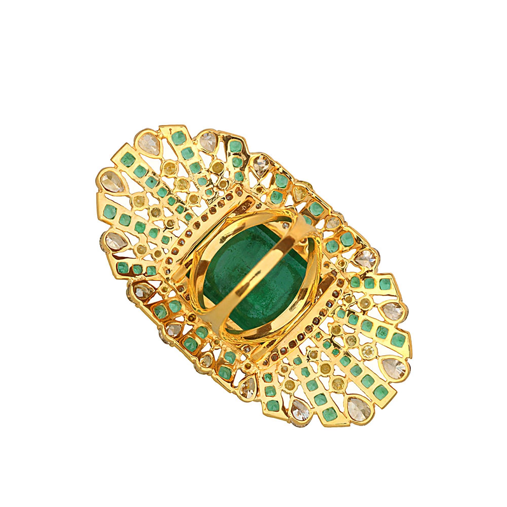 18k Solid gold diamond & emerald full finger designer ring