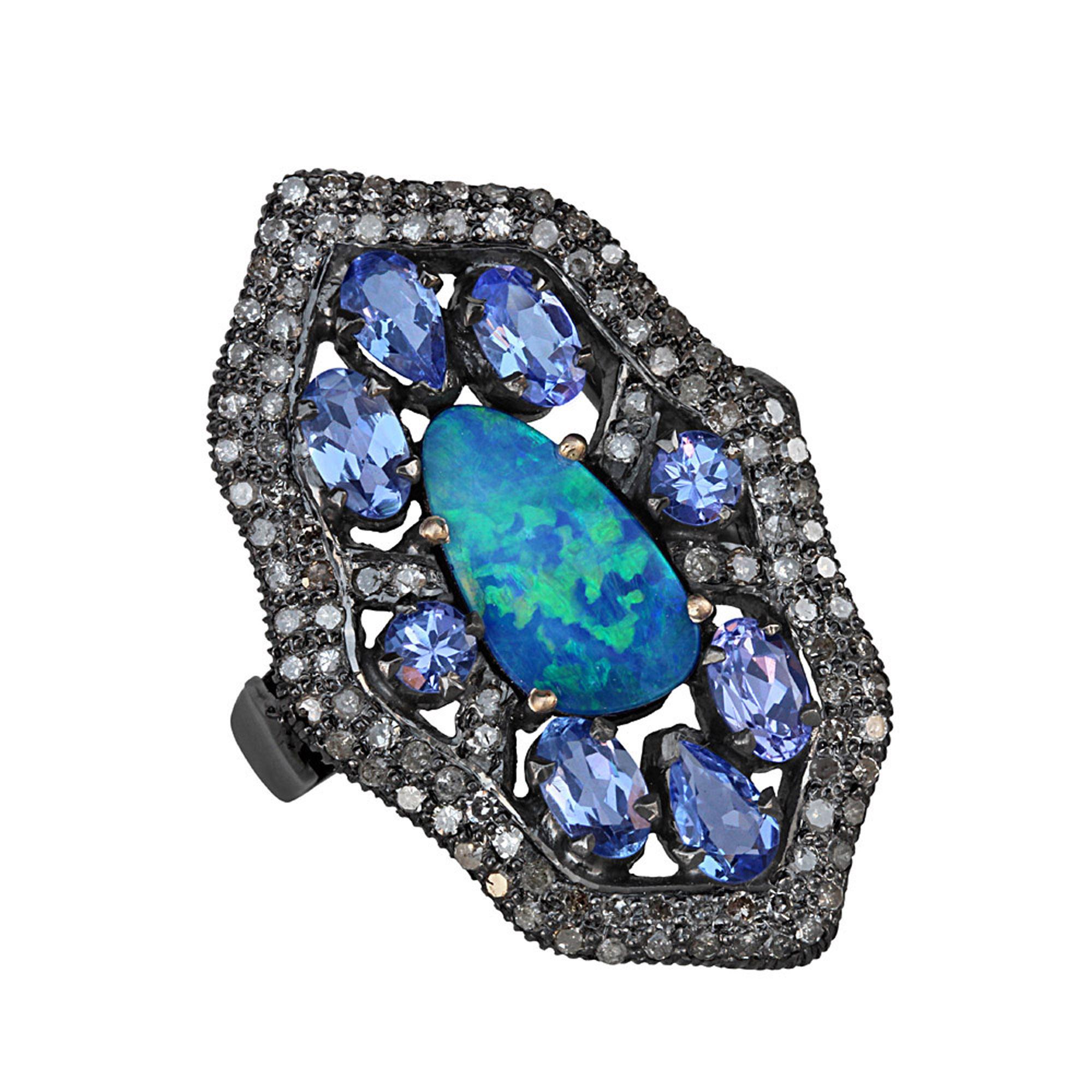 Diamond 14k gold 925 silver ring with opal & tanzanite