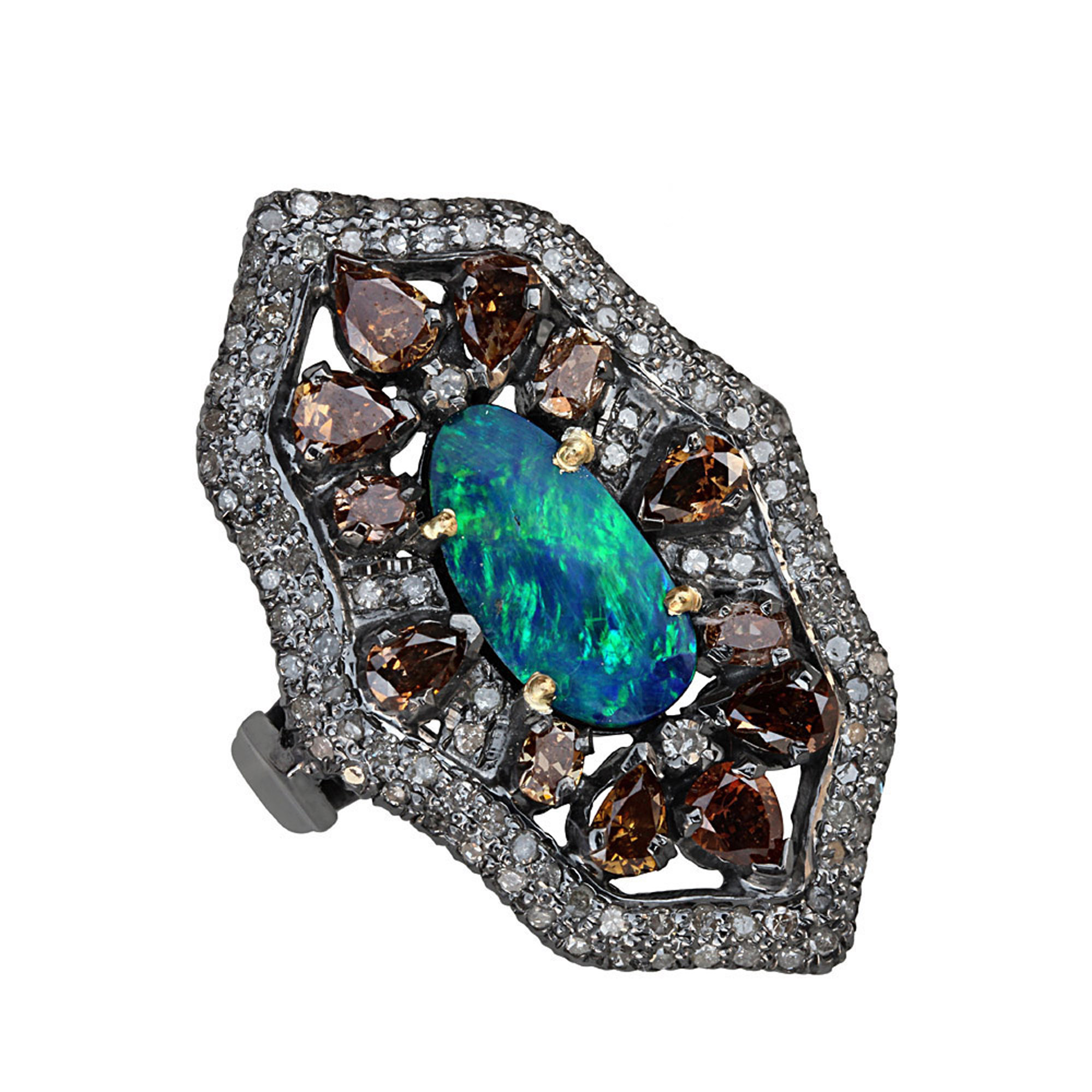 Natural diamond pave & opal gold & silver designer ring