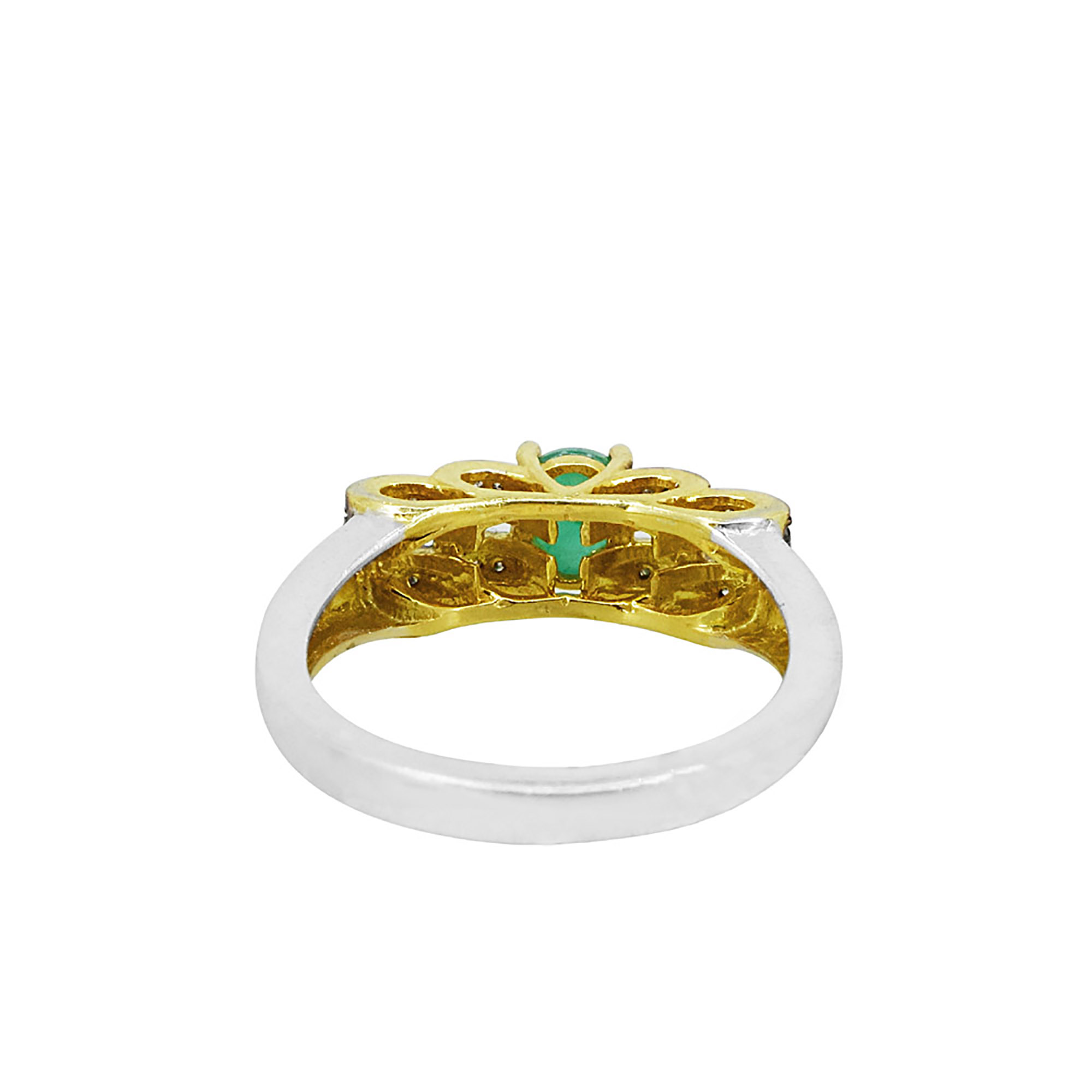 Genuine emerald & diamond engagement ring set in 14k gold 925 silver