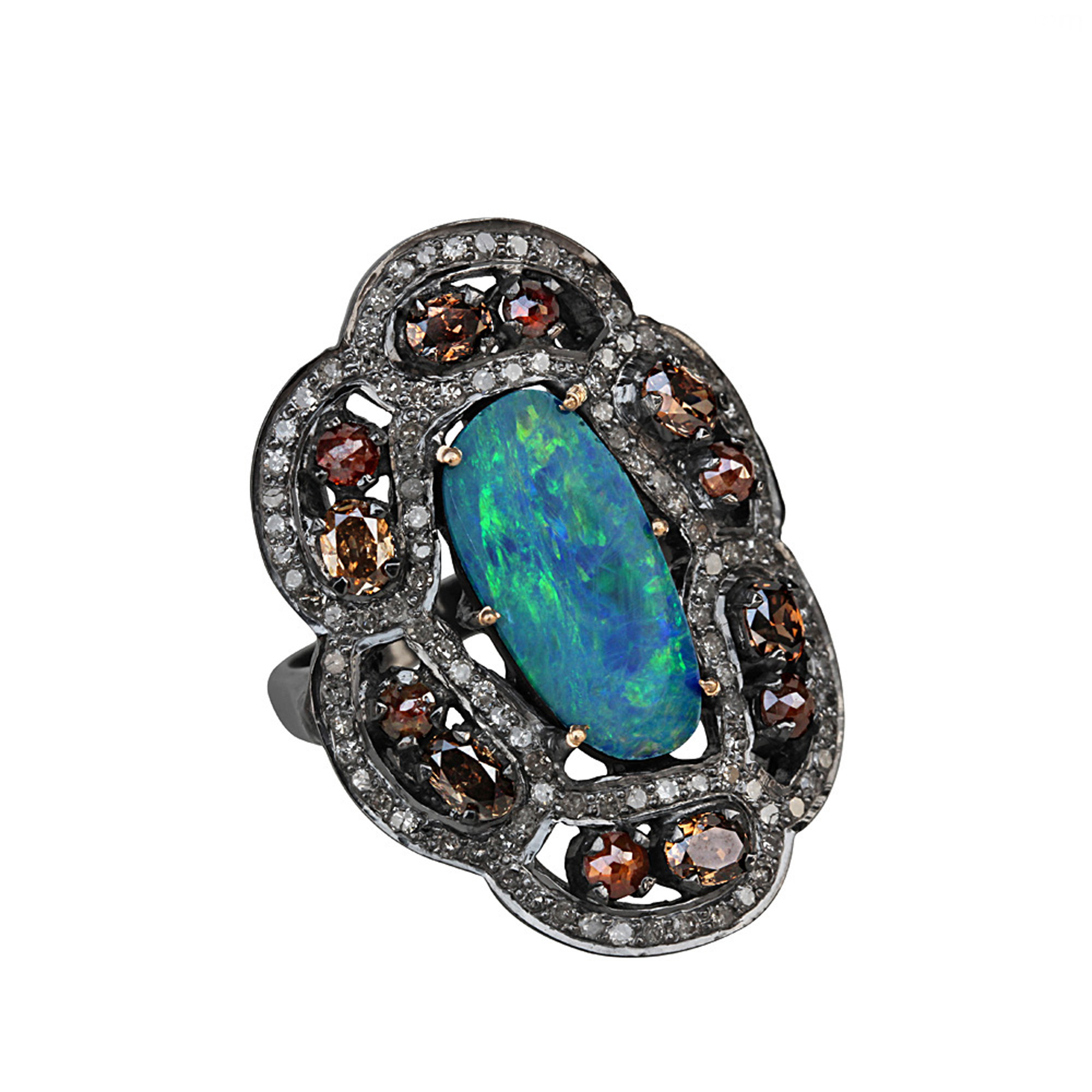 Sterling silver pave diamond ring, 14k gold & opal ring