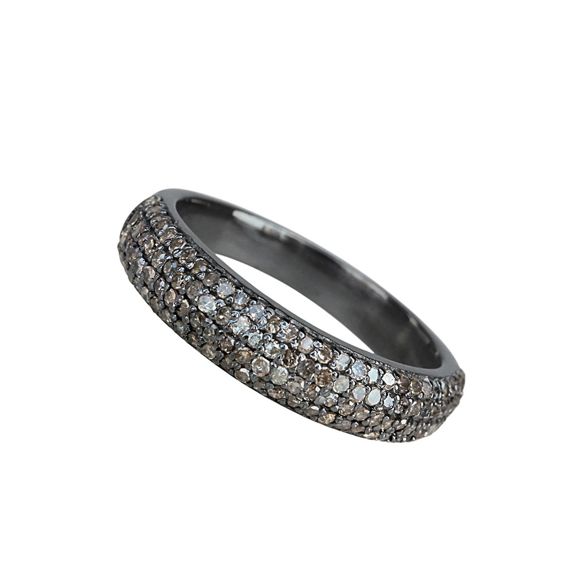 Natural pave diamond full eternity band made in 925 sterling silver