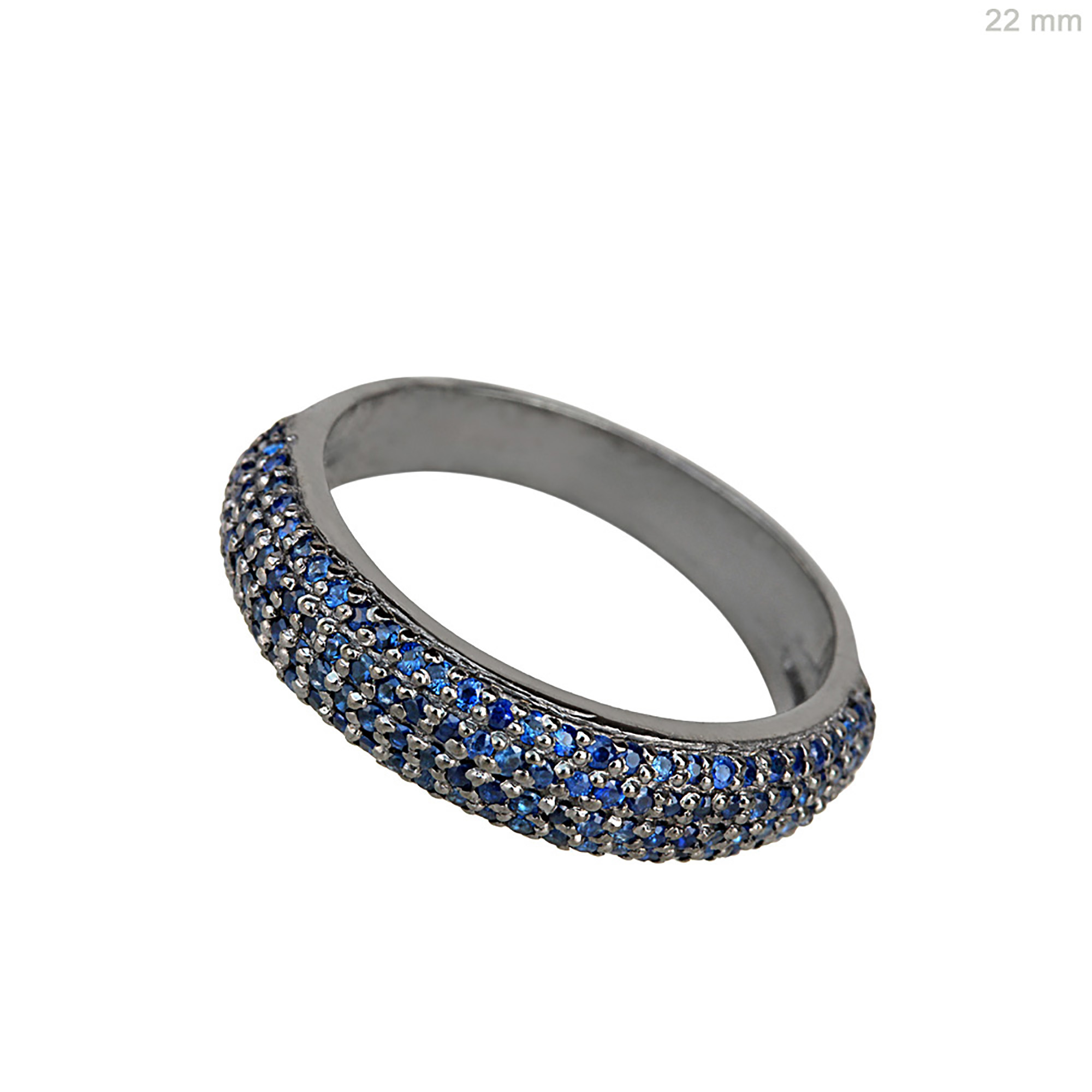 Gemstone sapphire full eternity band ring, 925 silver engagement ring