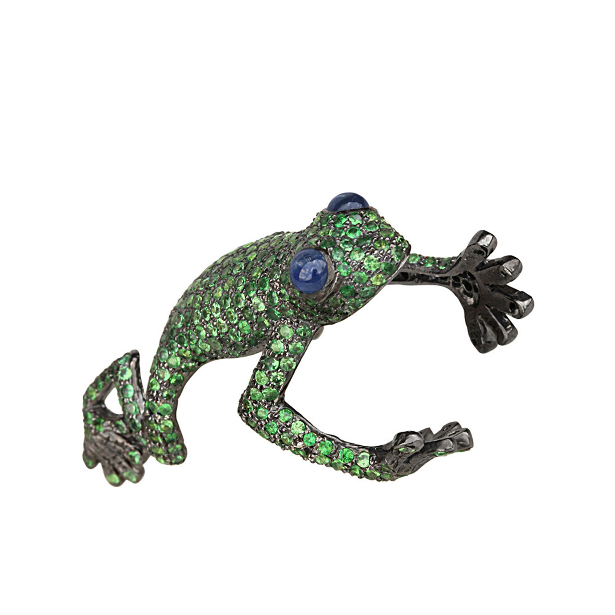 Natural sapphire & tsavorite frog ring, 925 sterling silver fine jewelry