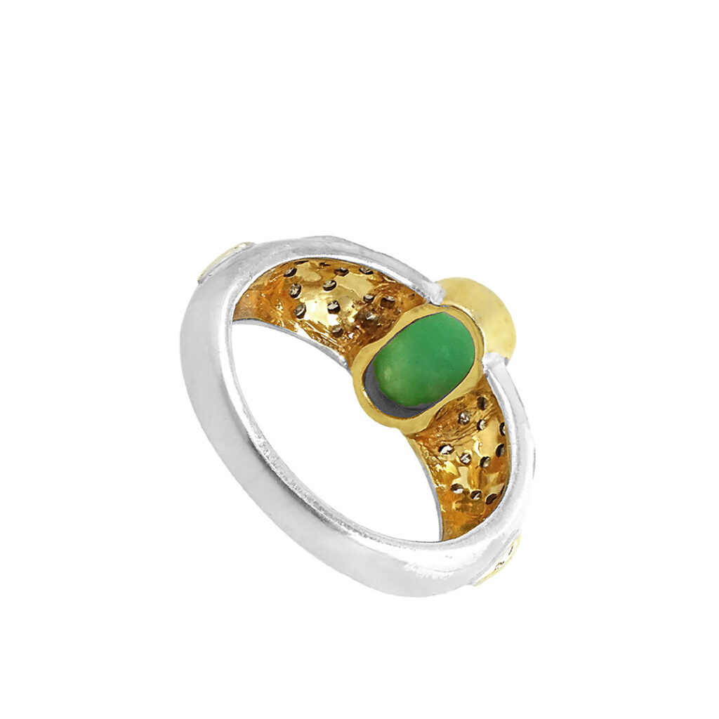 Gold & silver diamond ring with emerald