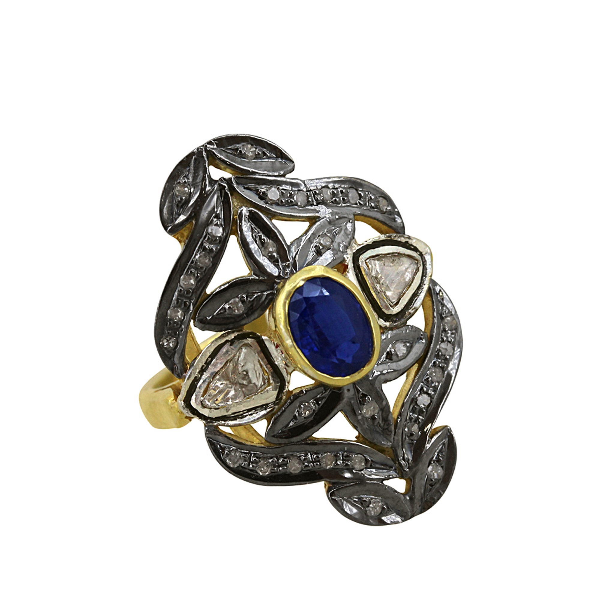 Natural sapphire diamond 925 sterling silver designer ring