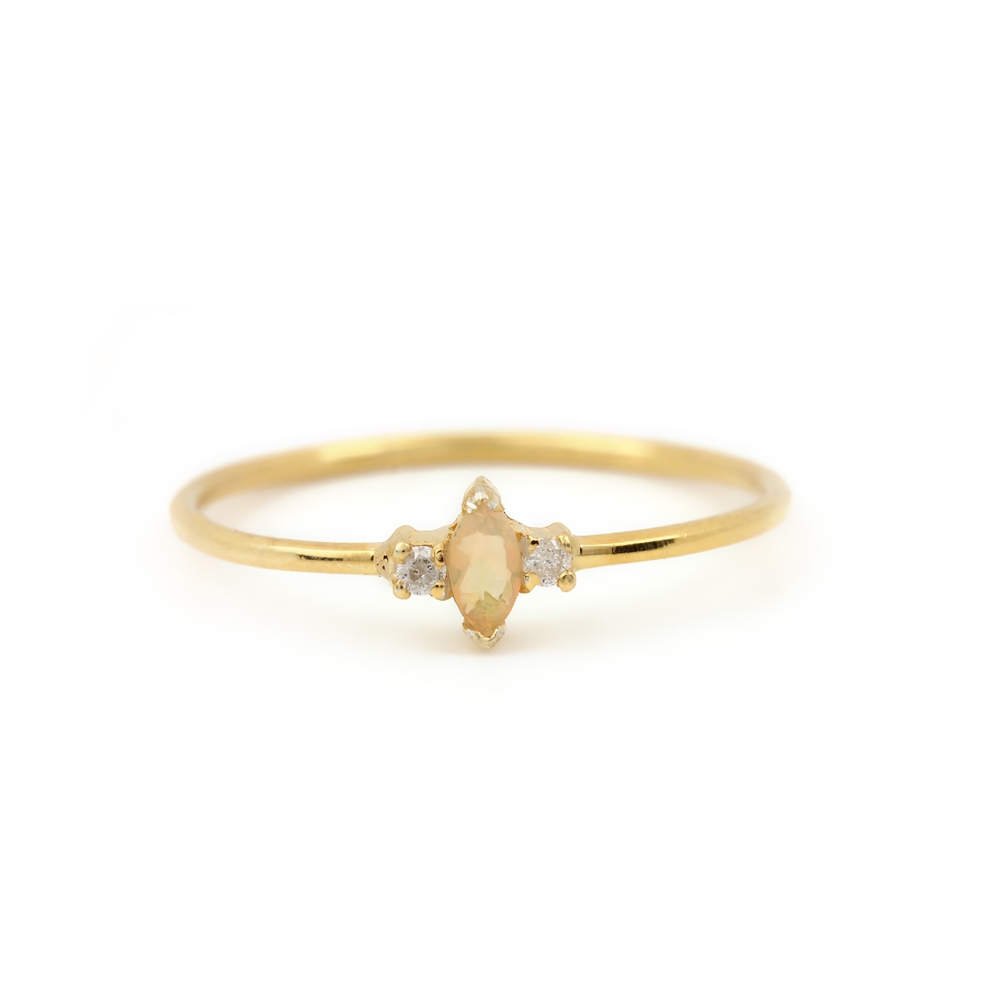 14k Solid Gold Diamond Solitaire Opal Ring Fine Jewelry