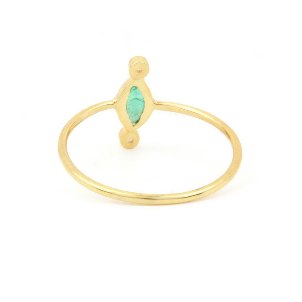 Diamond Emerald 14k Solid Gold Ring