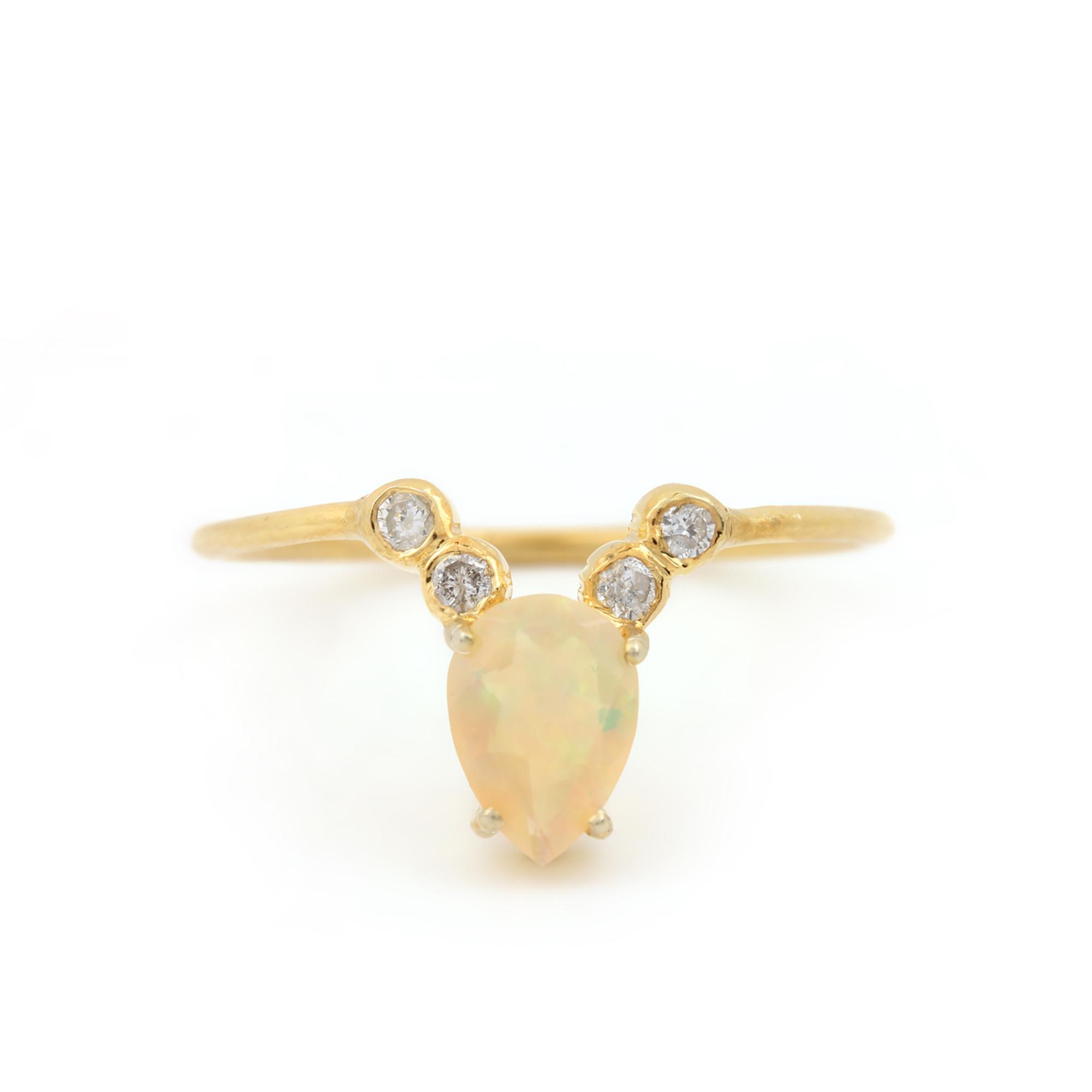 14k Solid Gold Diamond Opal Ring Fine Jewelry