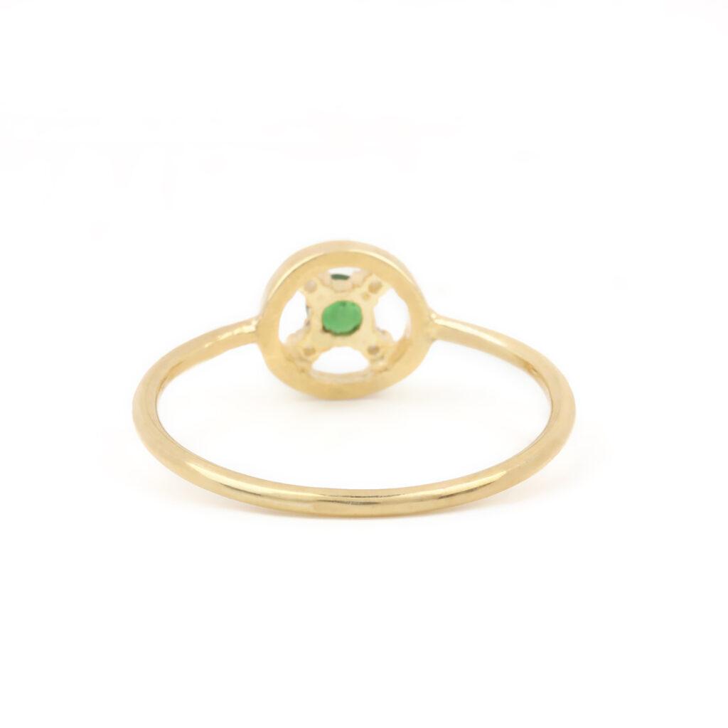Natural Diamond 14k Solid Gold Tsavorite Ring