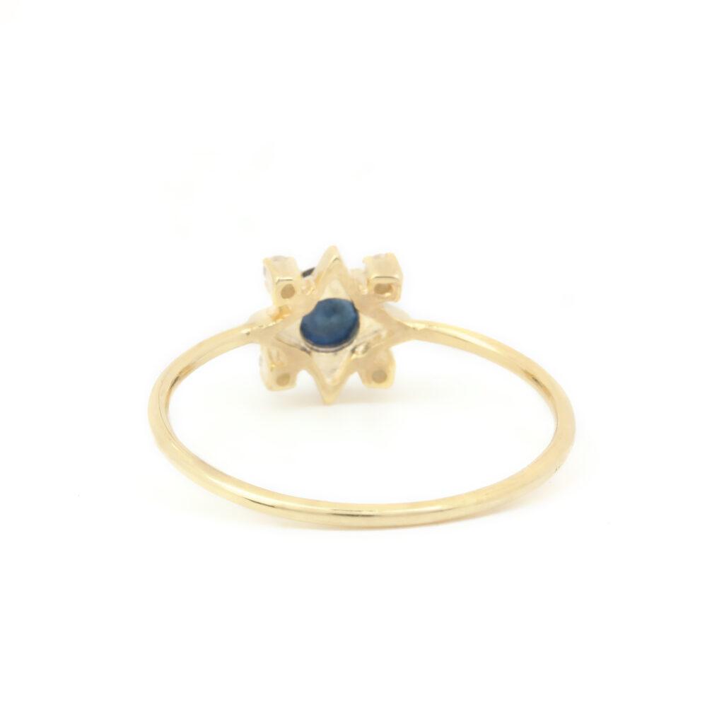 14k Solid Gold Diamond Blue Sapphire Ring Fine Jewelry