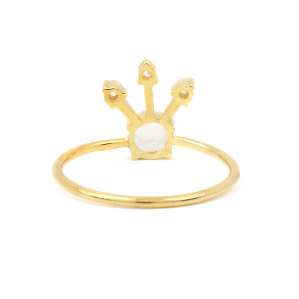 14k Solid Gold Diamond Rainbow Moonstone Ring Fine Jewelry