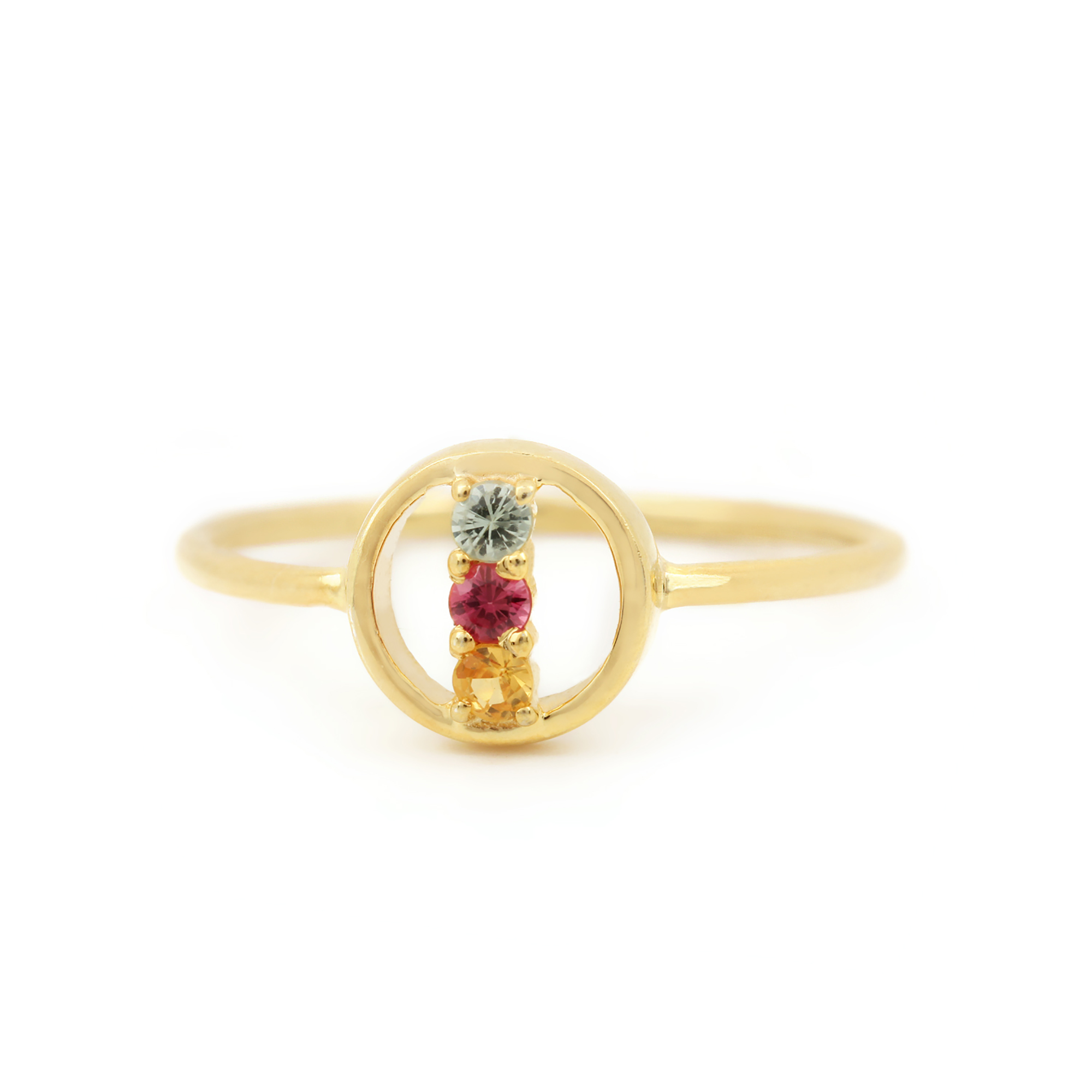 14k Solid Gold Multy Sapphire Ring Fine Jewelry