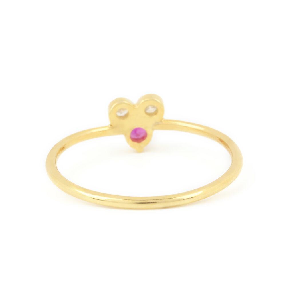14k Solid Gold Diamond Minimalist Ruby Ring Fine Jewelry