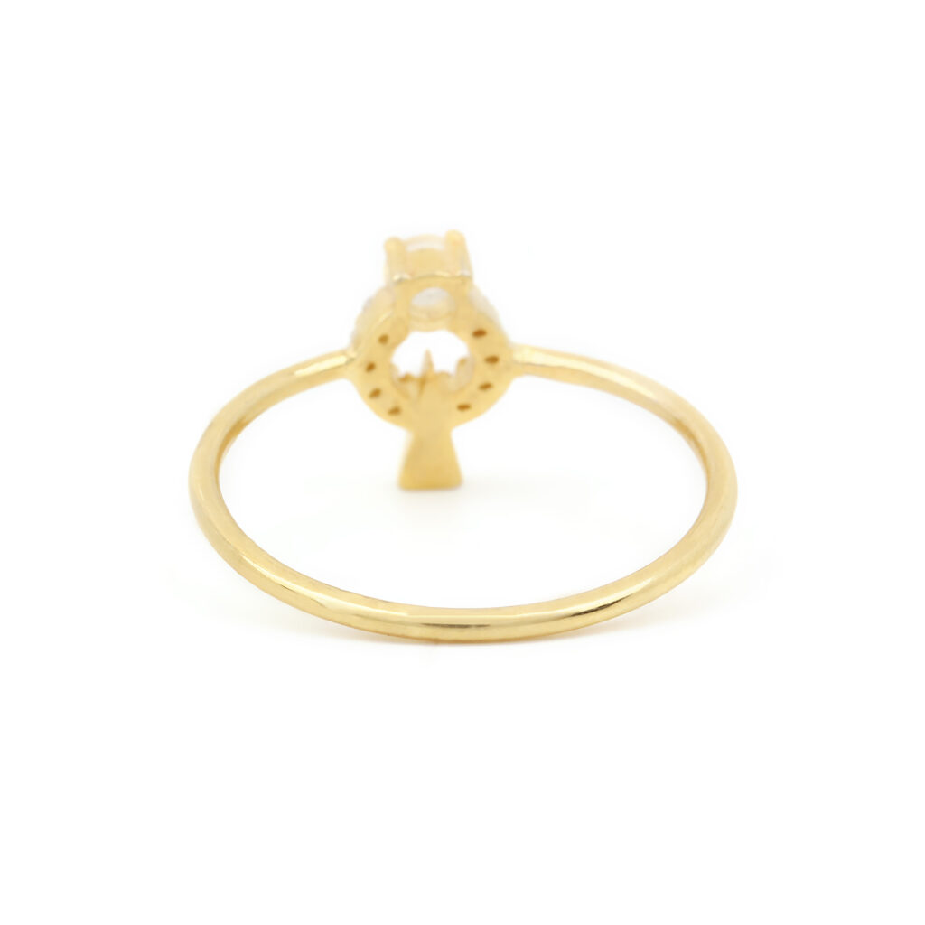 Diamond Moonstone Ring Made In 14k Solid Gold