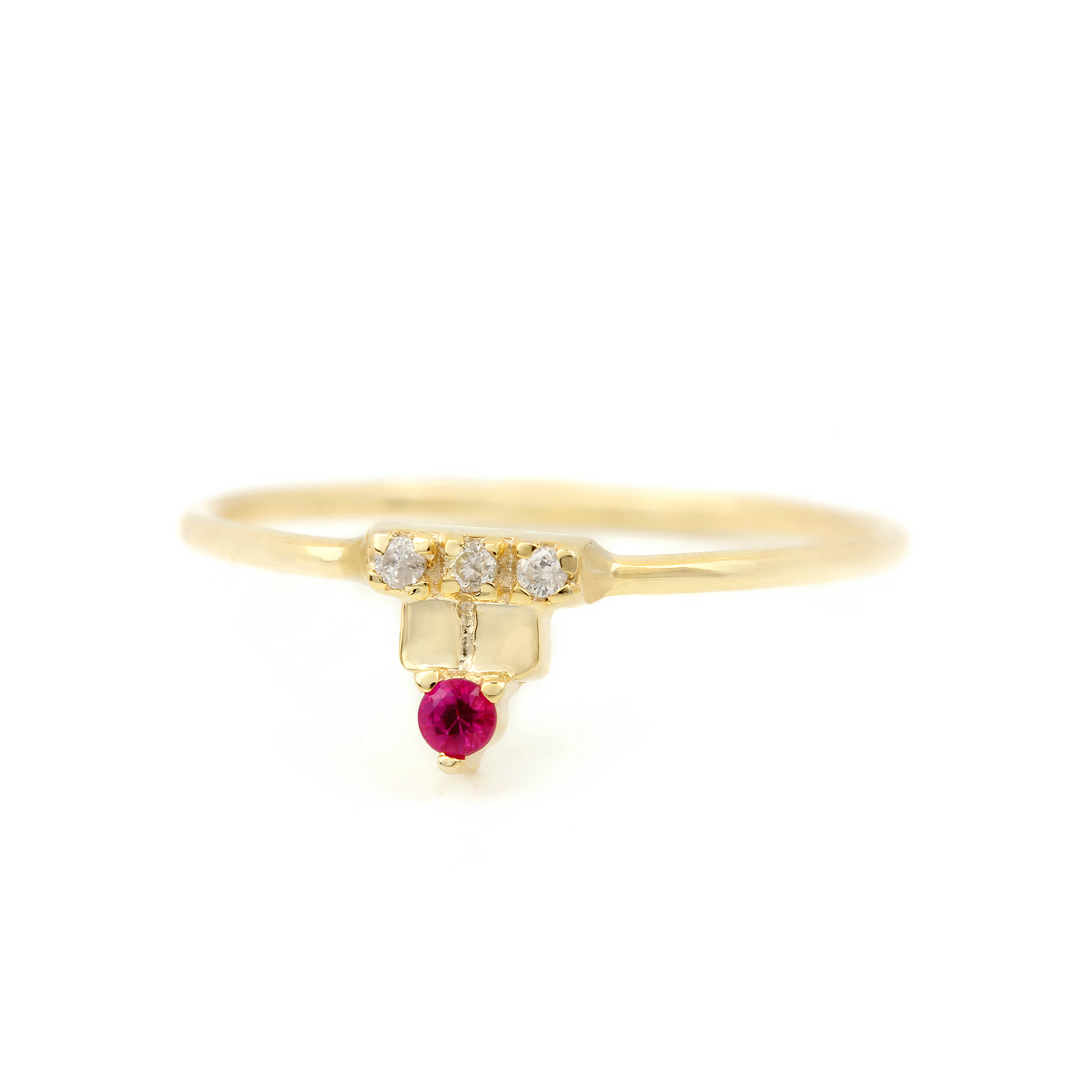 Diamond 14k Solid Gold Ruby Ring
