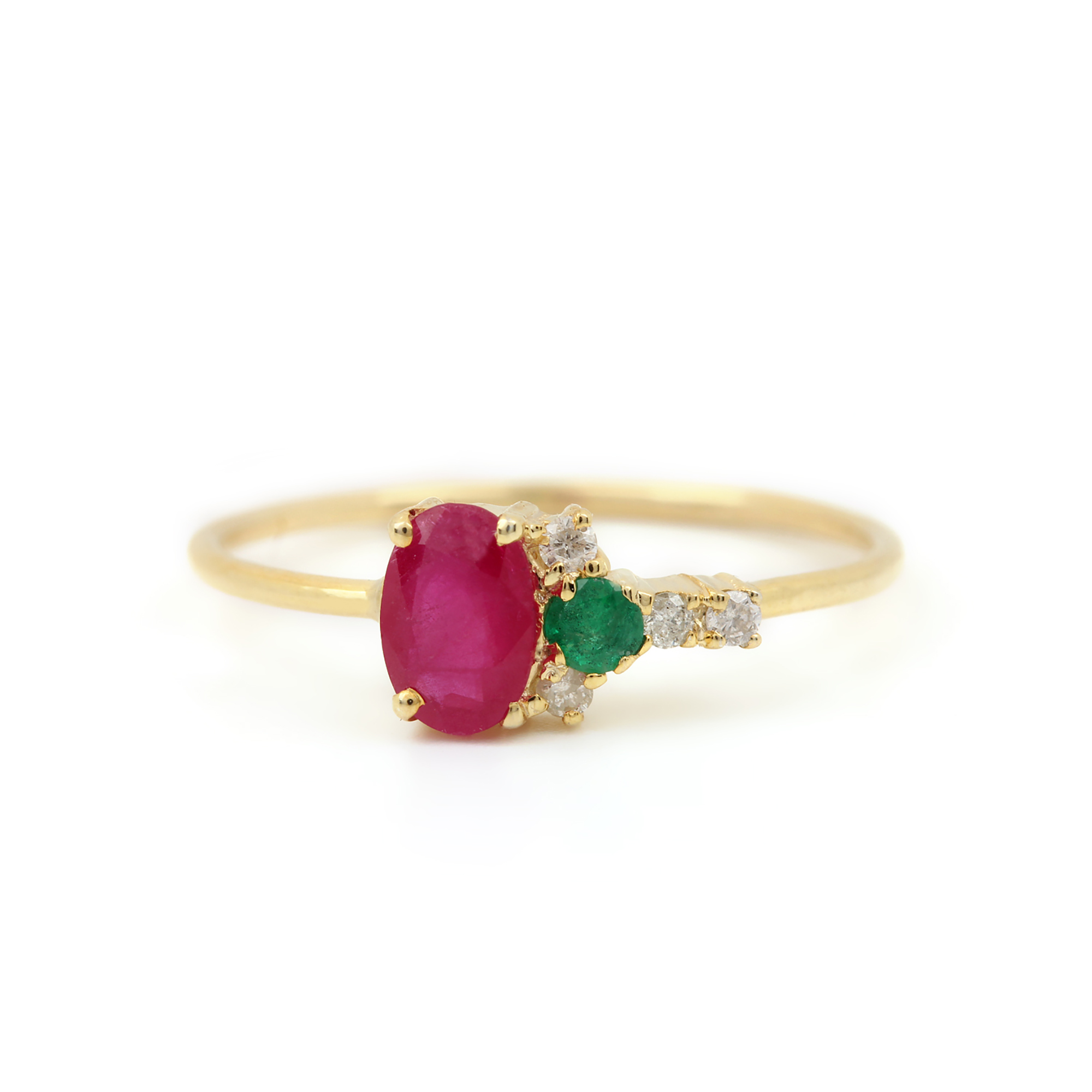 14k Solid Gold Diamond Ruby & Emerald Ring Fine Jewelry