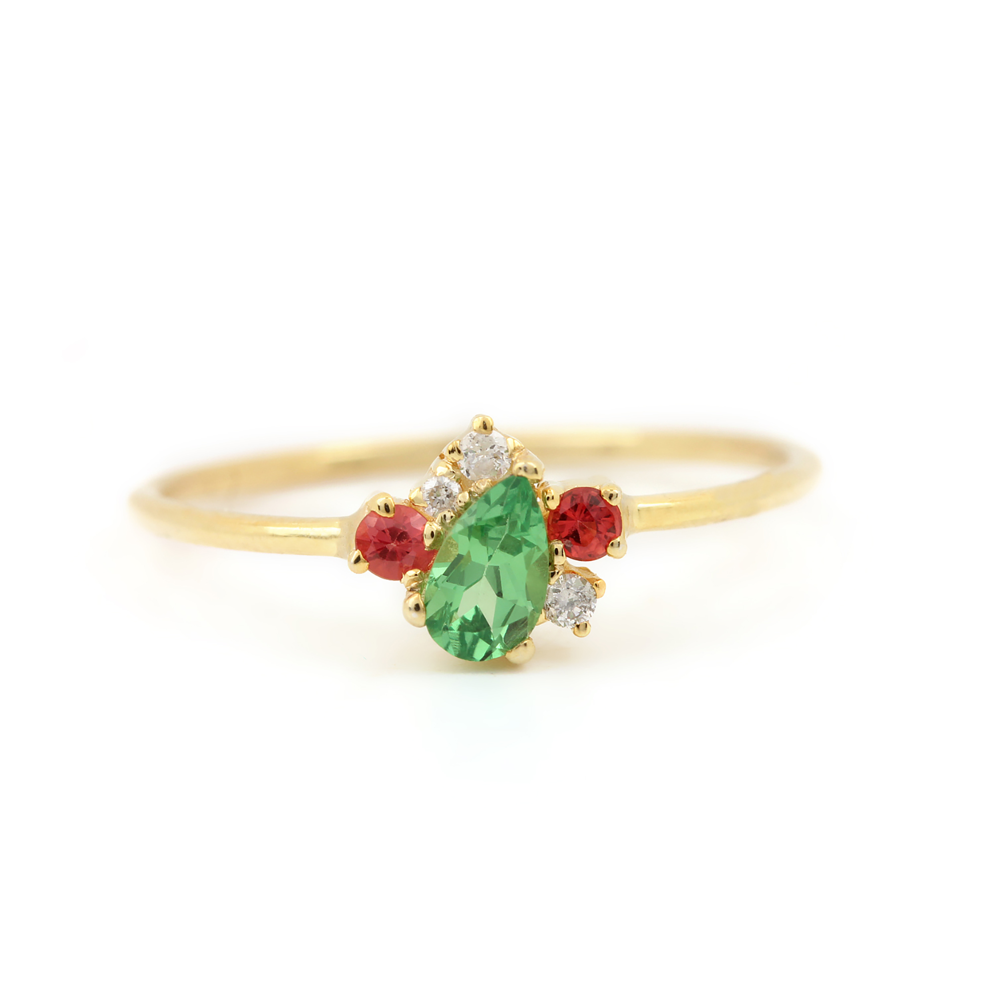 14k Solid Gold Natural Diamond Gemstone Ring