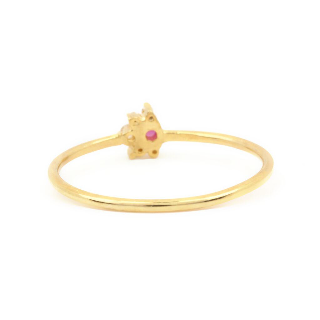 14k Solid yellow Gold Real Diamond Ruby Ring