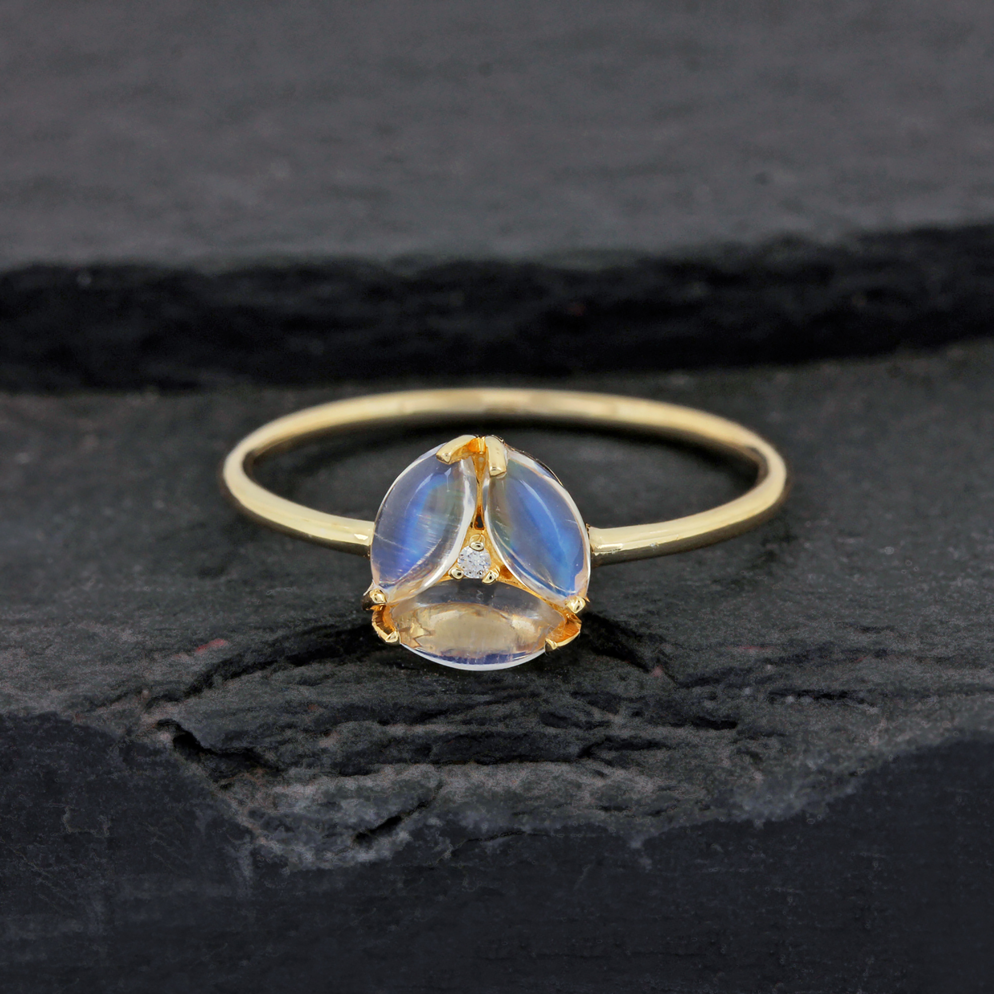 14k Gold Diamond Gemstone Ring